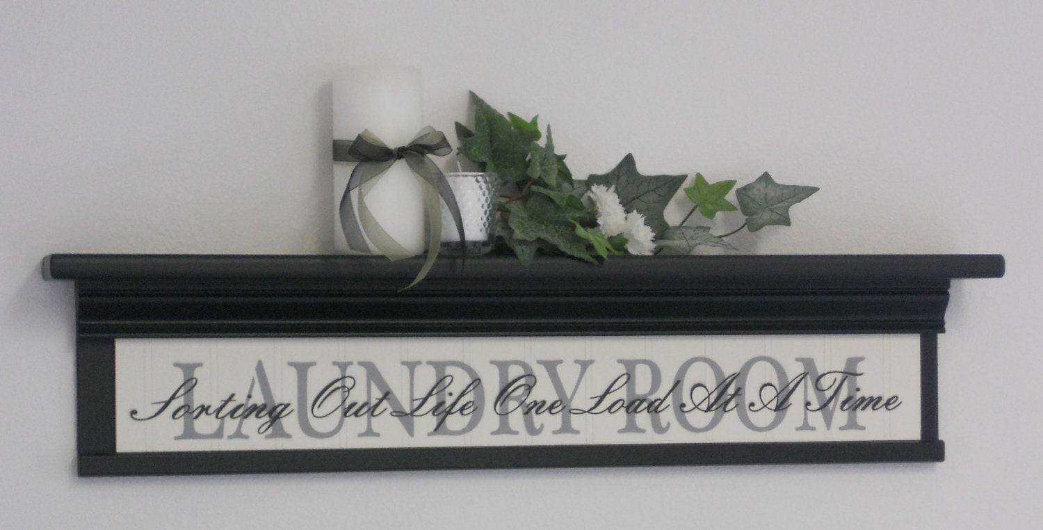 Best ideas about Laundry Wall Decor . Save or Pin Laundry Room Wall Decor Art 30 Shelf Black with Sign Now.