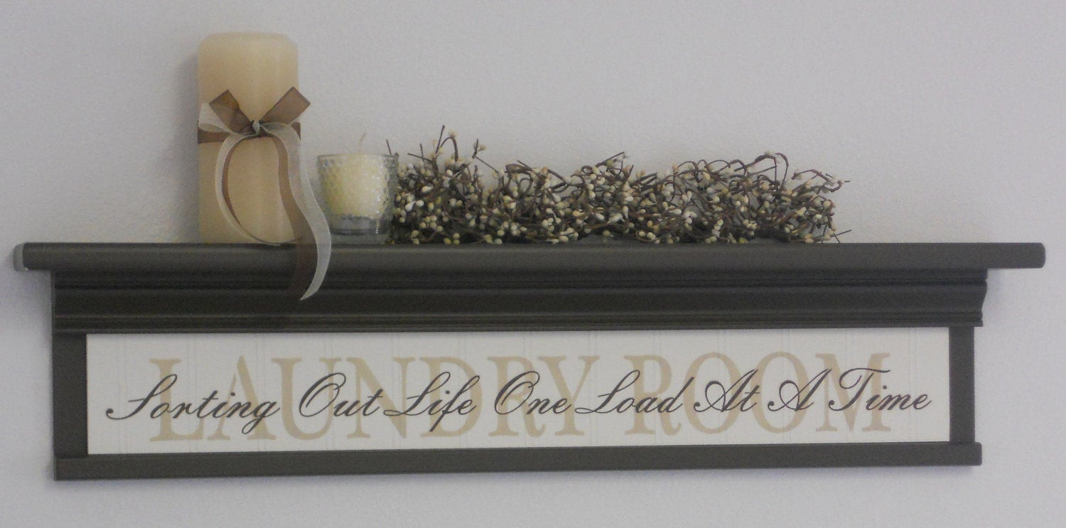 Best ideas about Laundry Wall Decor . Save or Pin Laundry Room Wall Decor Art Shelf 30 Chocolate Brown Now.