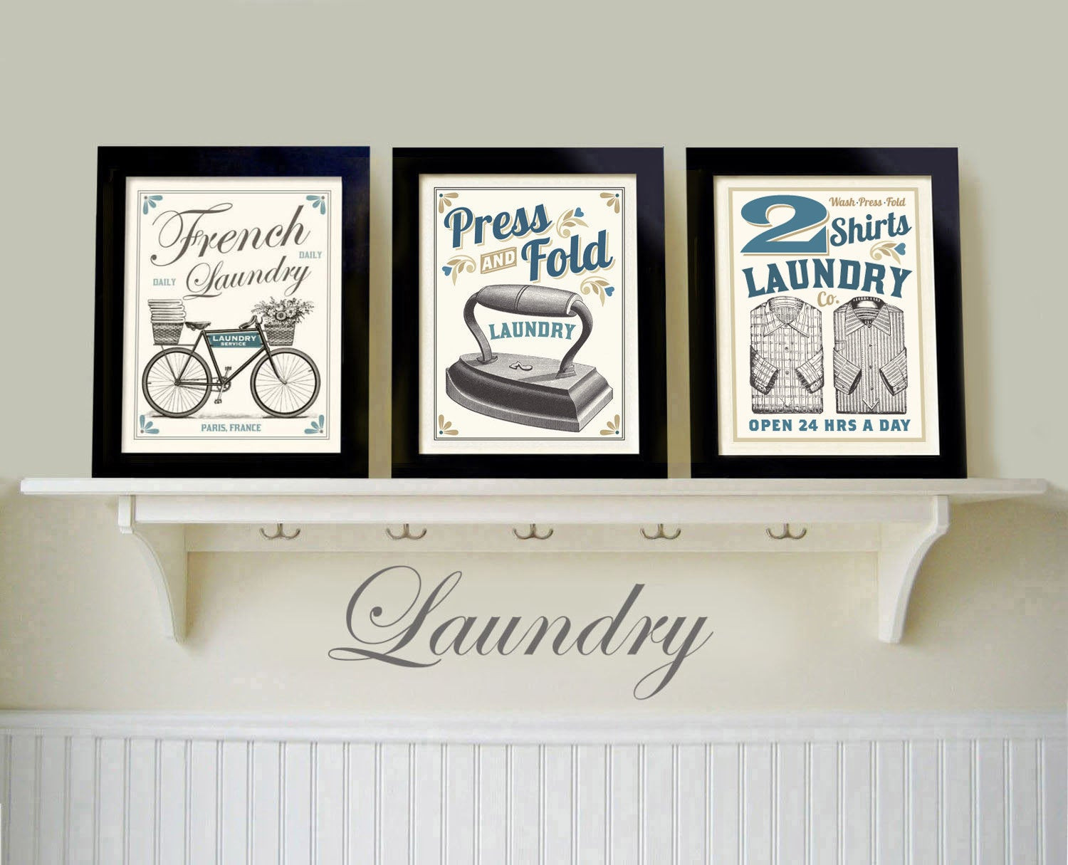 Best ideas about Laundry Wall Decor . Save or Pin Vintage Black White Laundry Room Old Fashioned Prints French Now.