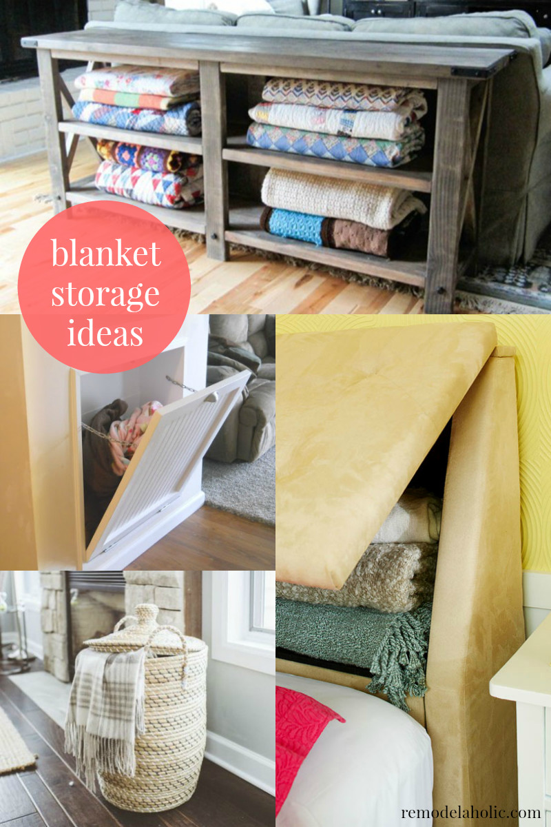 Best ideas about Living Room Blanket Storage Ideas . Save or Pin Remodelaholic Now.