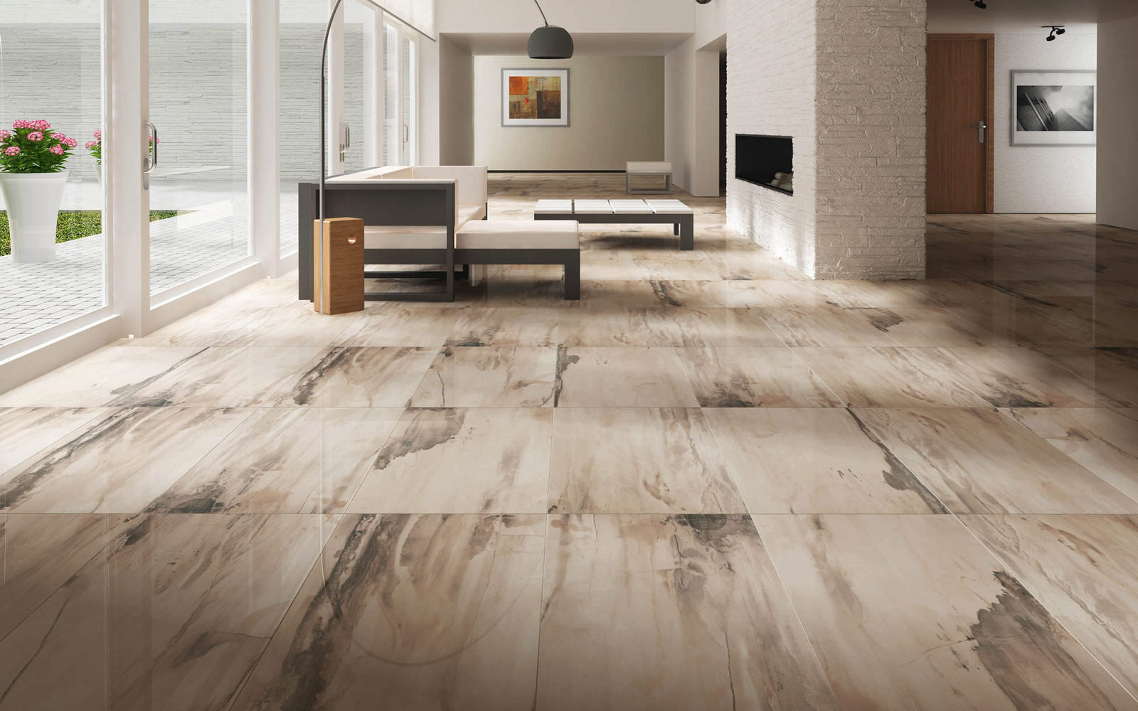 Best ideas about Living Room Flooring . Save or Pin 25 Beautiful Tile Flooring Ideas for Living Room Kitchen Now.
