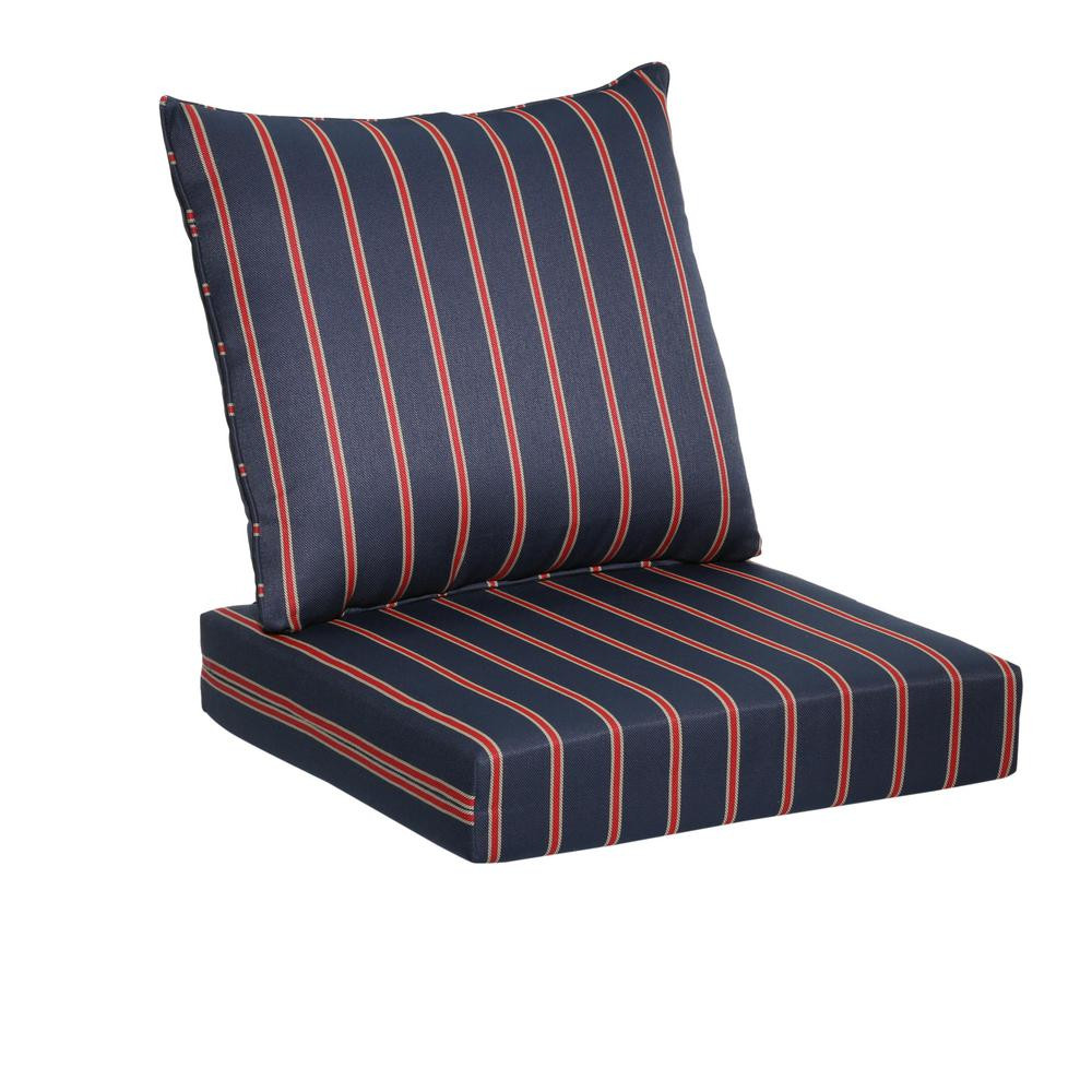 Best ideas about Lounge Chair Cushions . Save or Pin Hampton Bay Midnight Ruby Stripe 2 Piece Deep Seating Now.