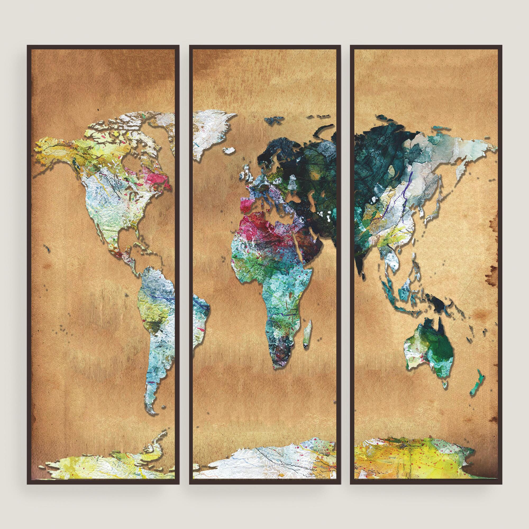 Best ideas about Map Wall Art . Save or Pin Watercolor Map Wall Art Set of Three Now.