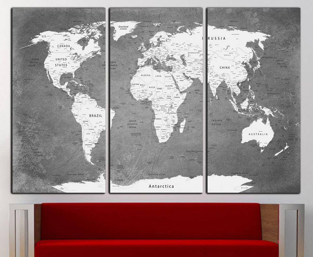 Best ideas about Map Wall Art . Save or Pin World Map Canvas Print Wall Art World Map Wall Decor World Map Now.