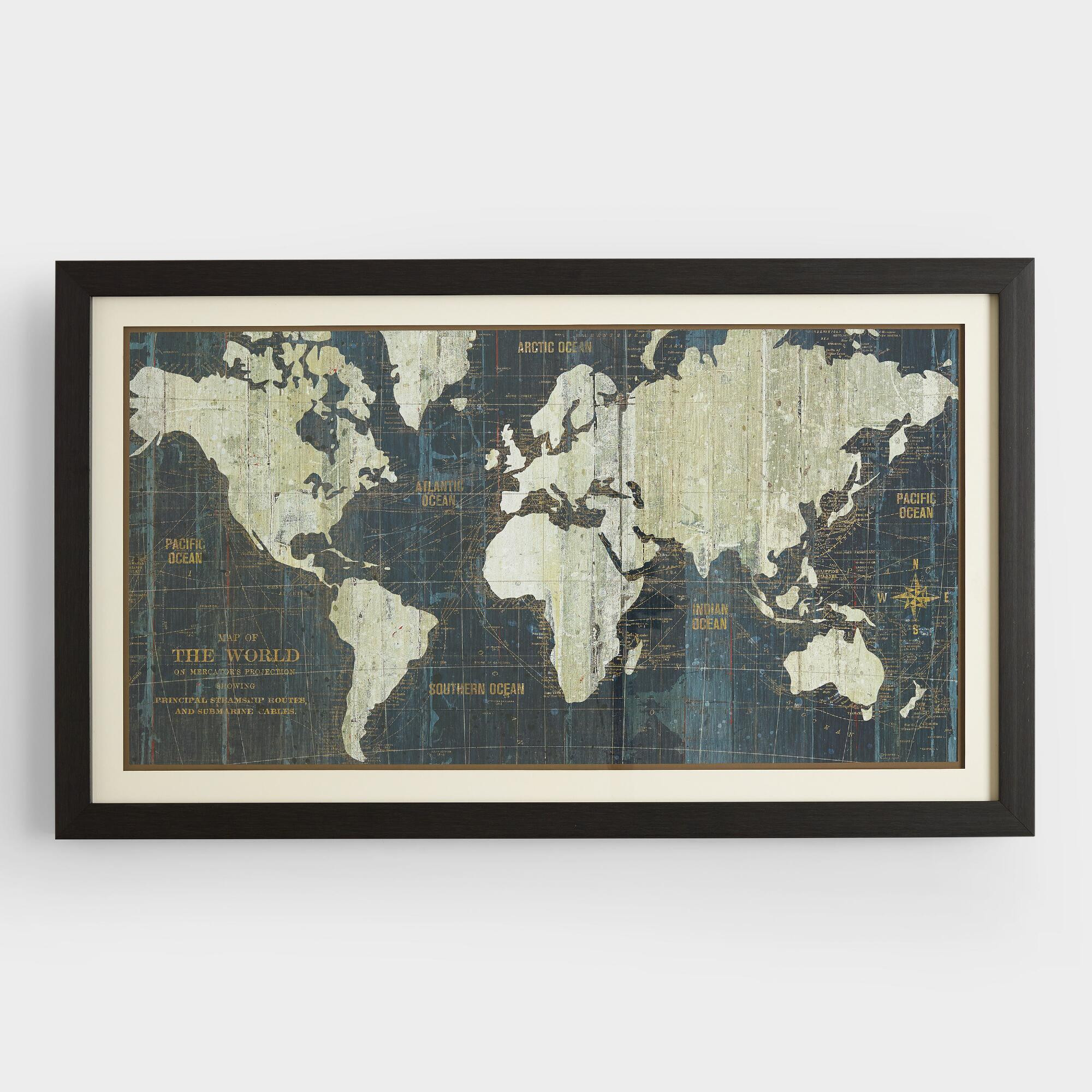 Best ideas about Map Wall Art . Save or Pin Blue Old World Map Now.