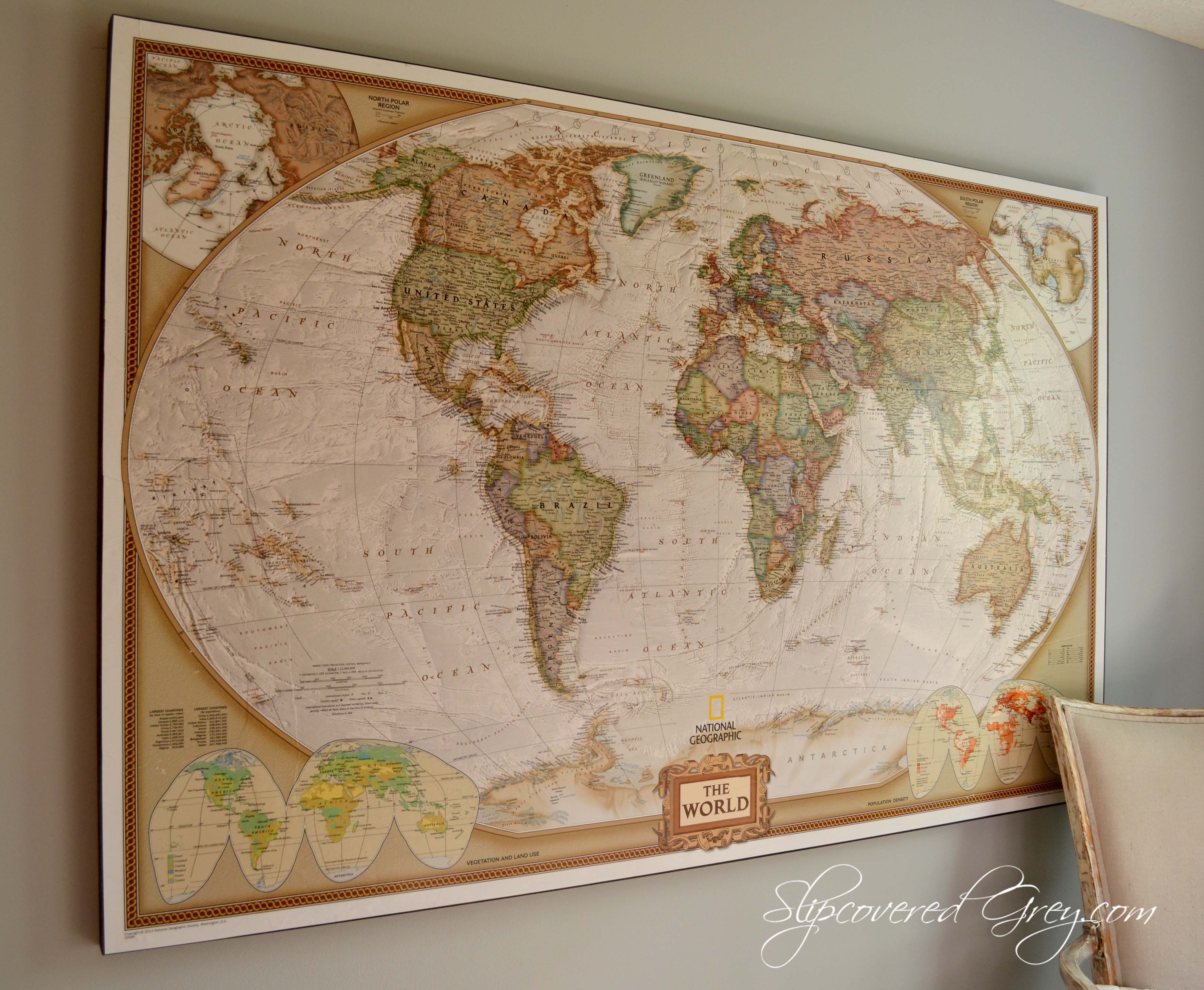 Best ideas about Map Wall Art . Save or Pin Boys Teen Bedroom Reveal Slipcovered Grey Now.