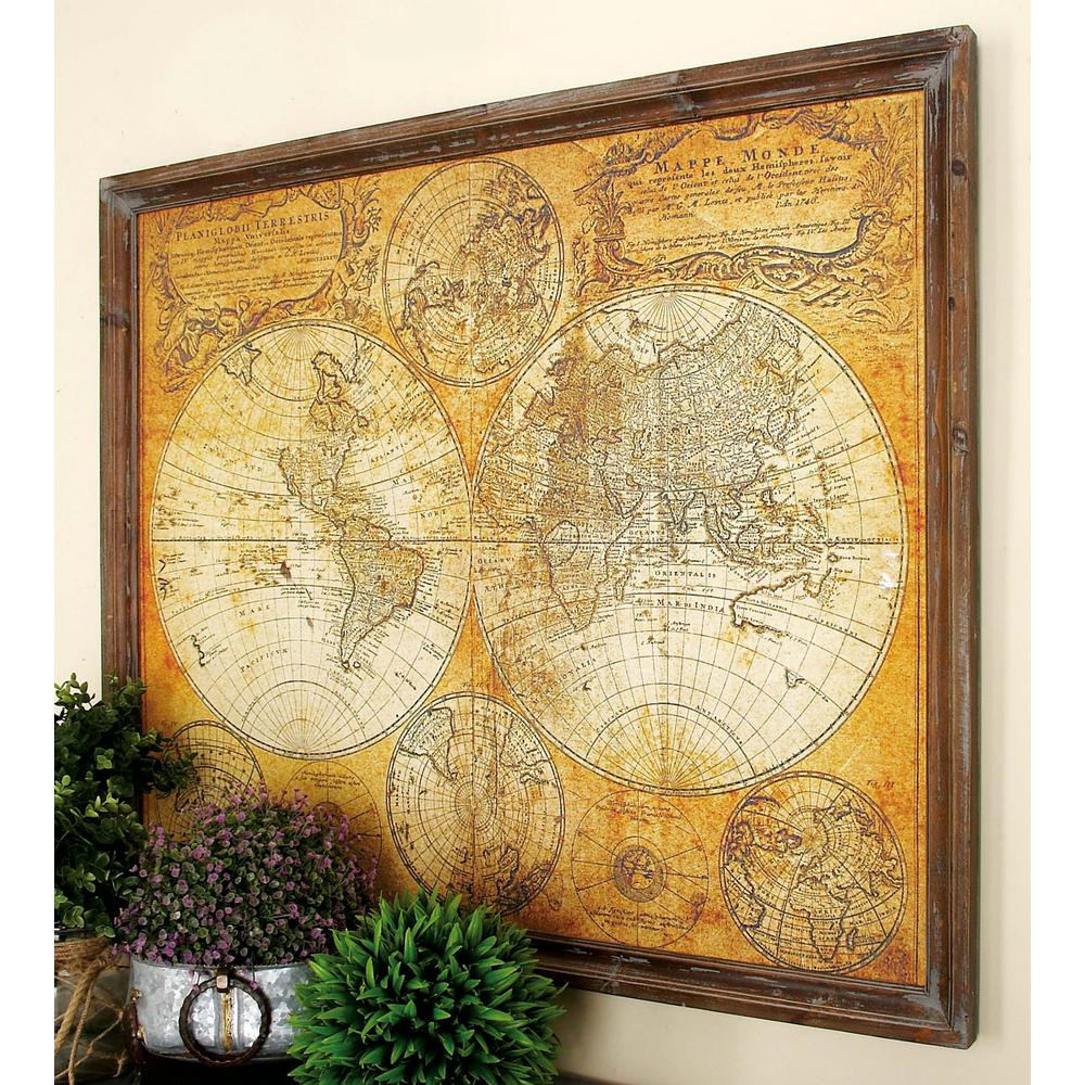 Best ideas about Map Wall Art . Save or Pin 34 in x 41 in MDF Antique World Map Wall Decor Now.