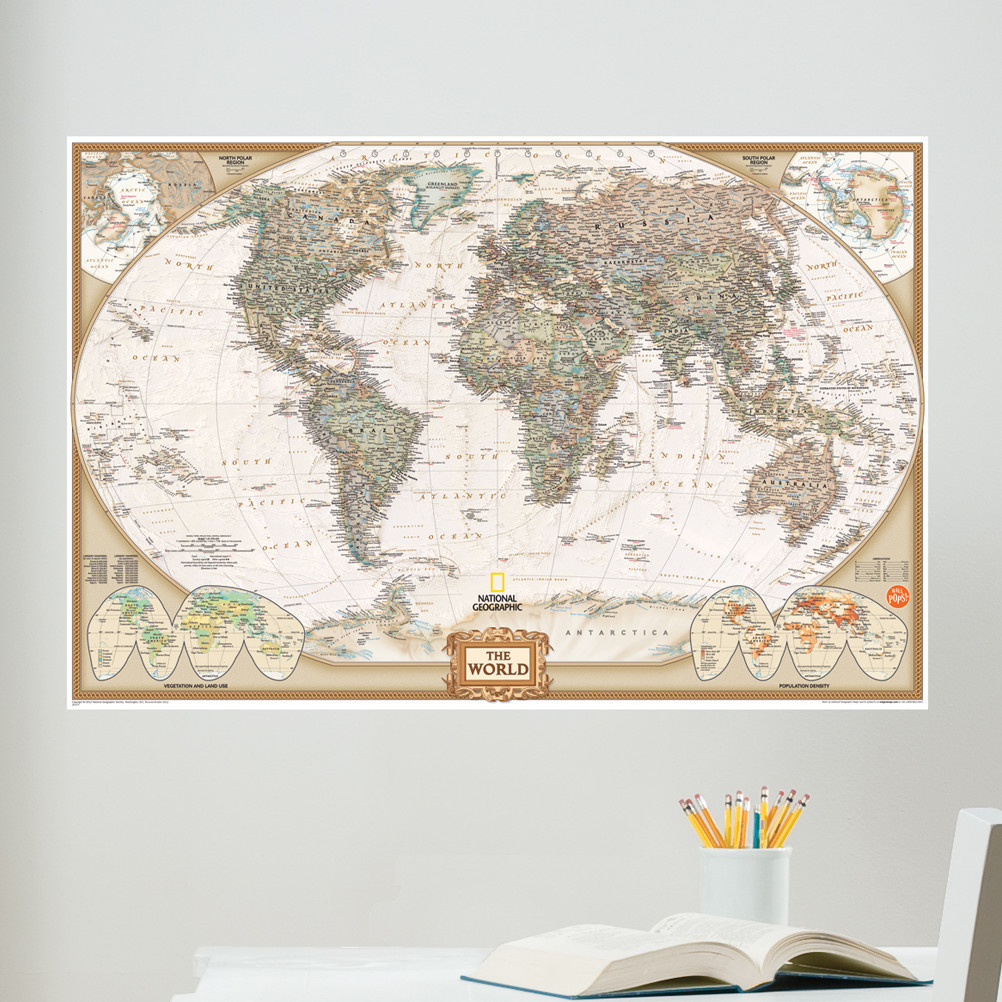 Best ideas about Map Wall Art . Save or Pin Wall Art Kit National Geographic World Map Wall Mural Now.