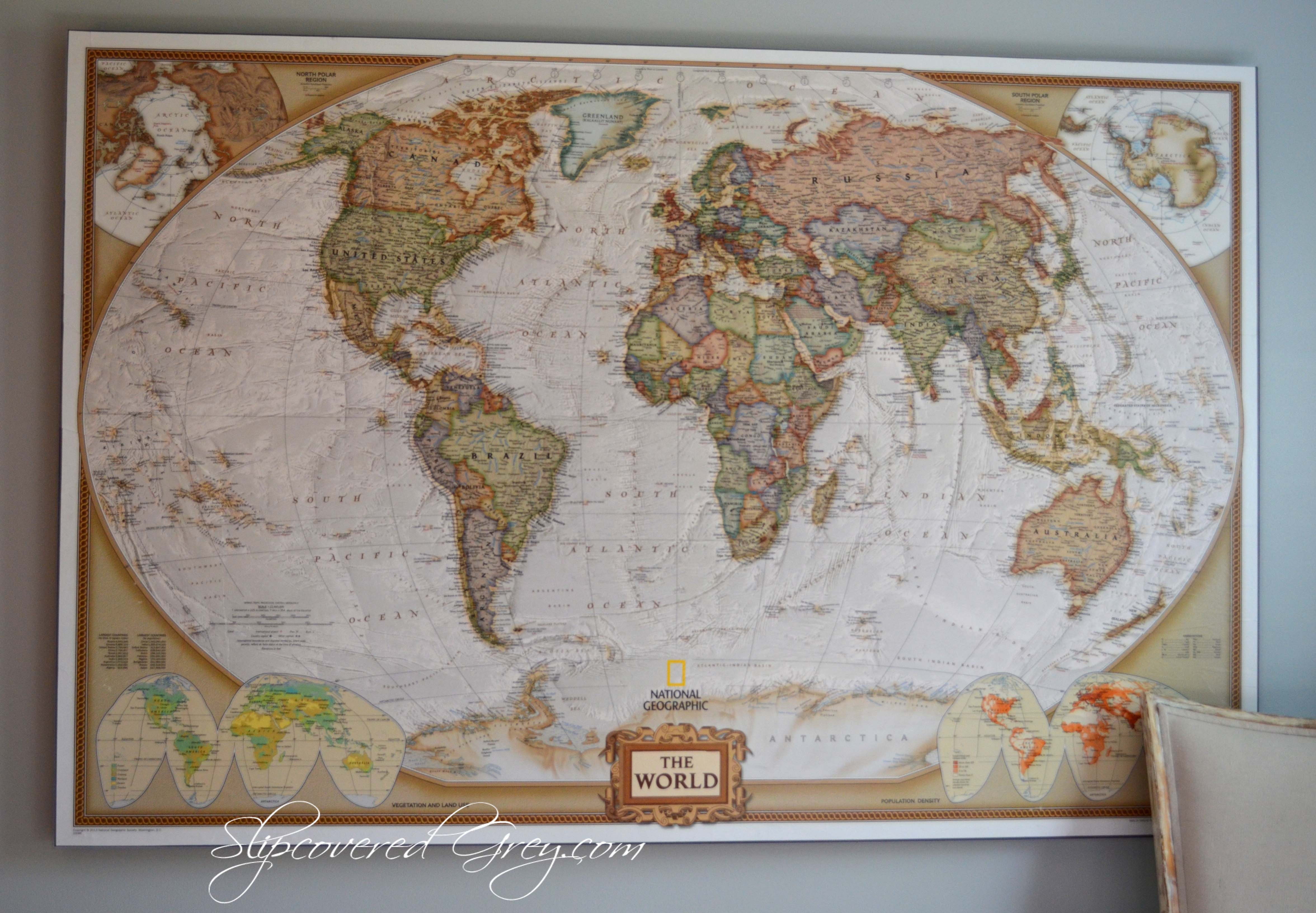 Best ideas about Map Wall Art . Save or Pin World Map Wall Art Slipcovered Grey Now.