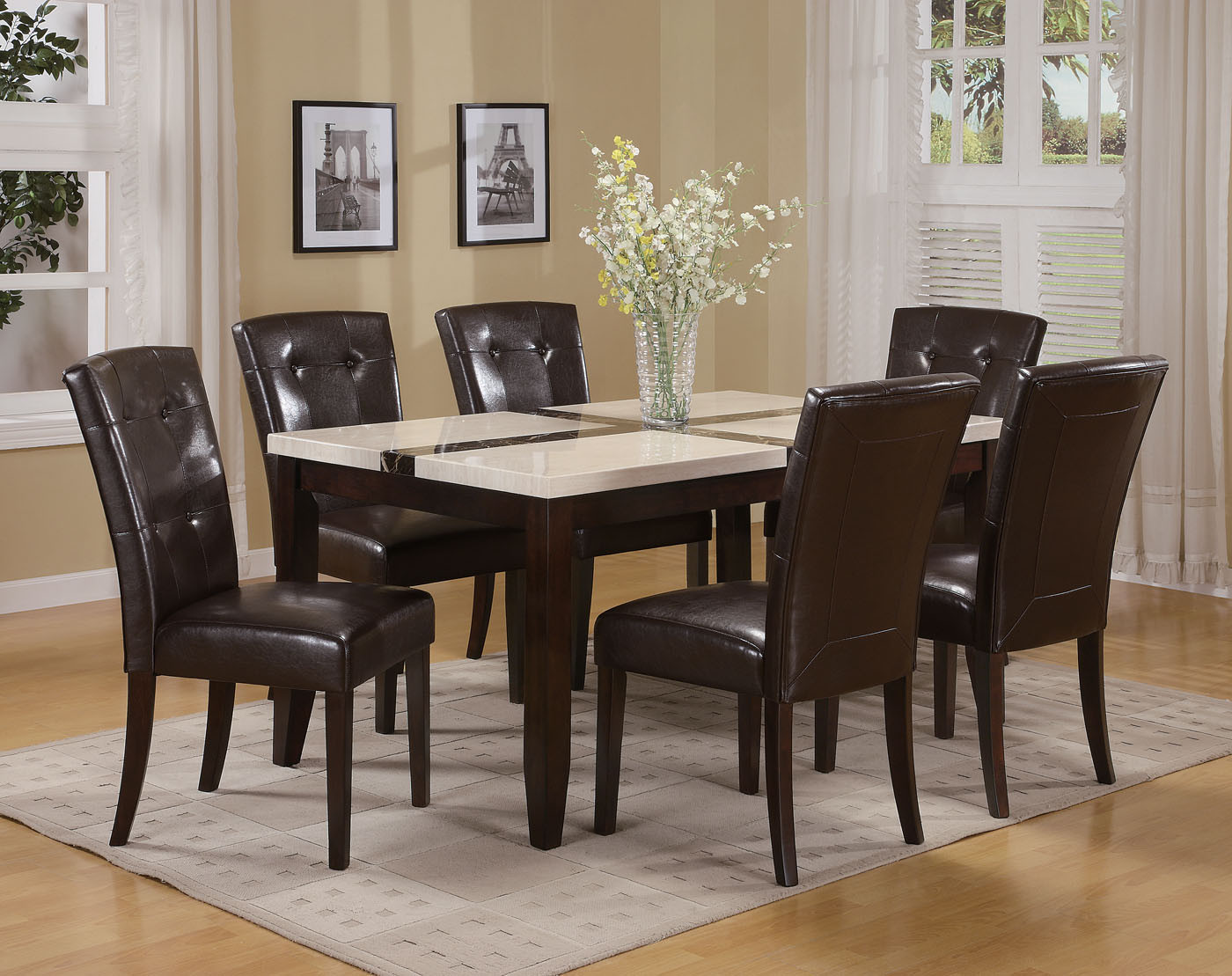 Best ideas about Marble Top Dining Table . Save or Pin ACME Acme Justin White Faux Marble Top Dining Table Set in Now.