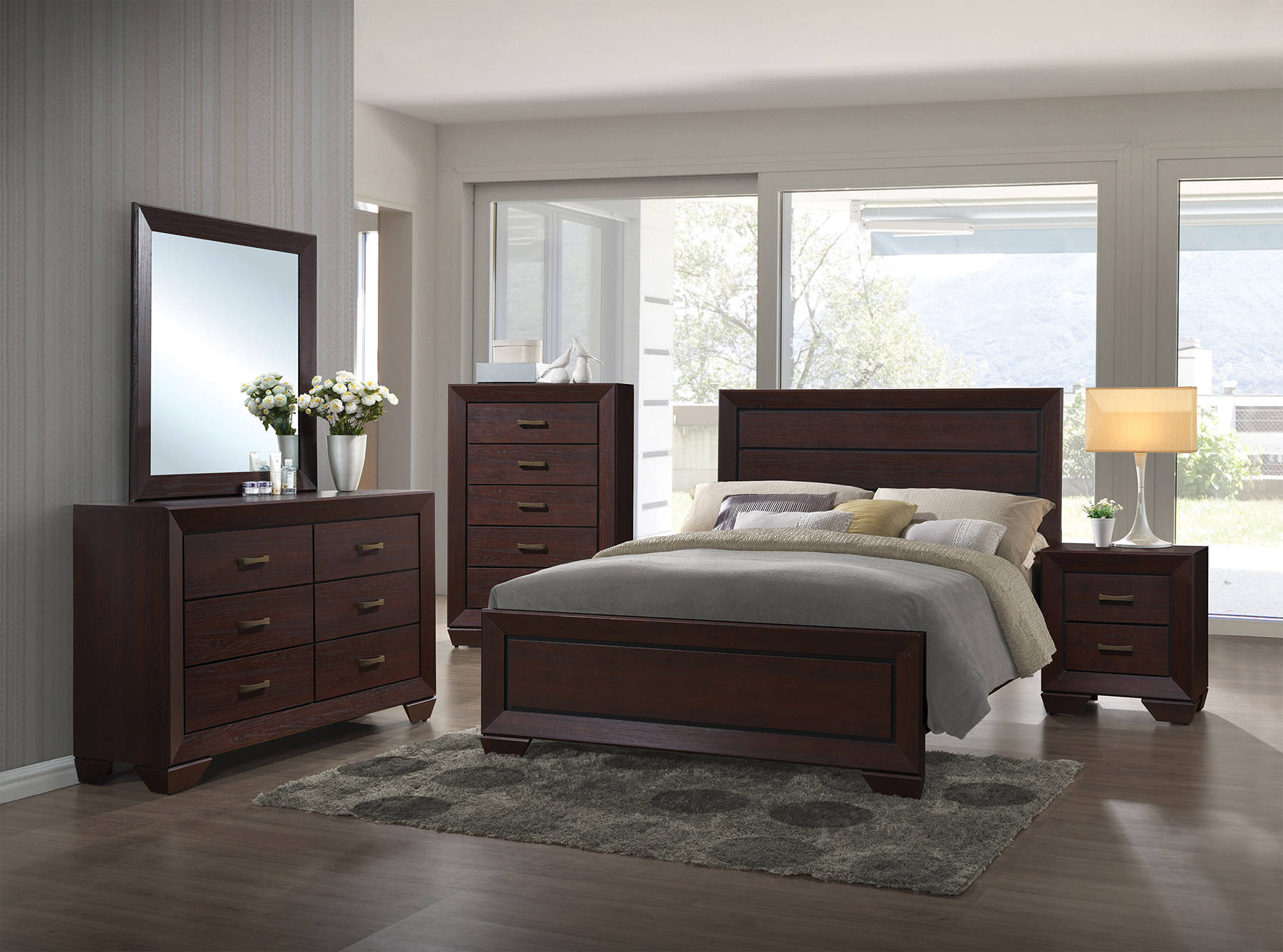 Best ideas about Master Bedroom Sets . Save or Pin Fenbrook Transitional Dark Cocoa Hardwood Master Bedroom Now.