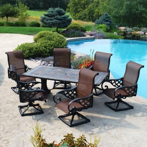 Best ideas about Menards Patio Furniture . Save or Pin Backyard Creations 7 Piece Yukon Dining Collection at Now.