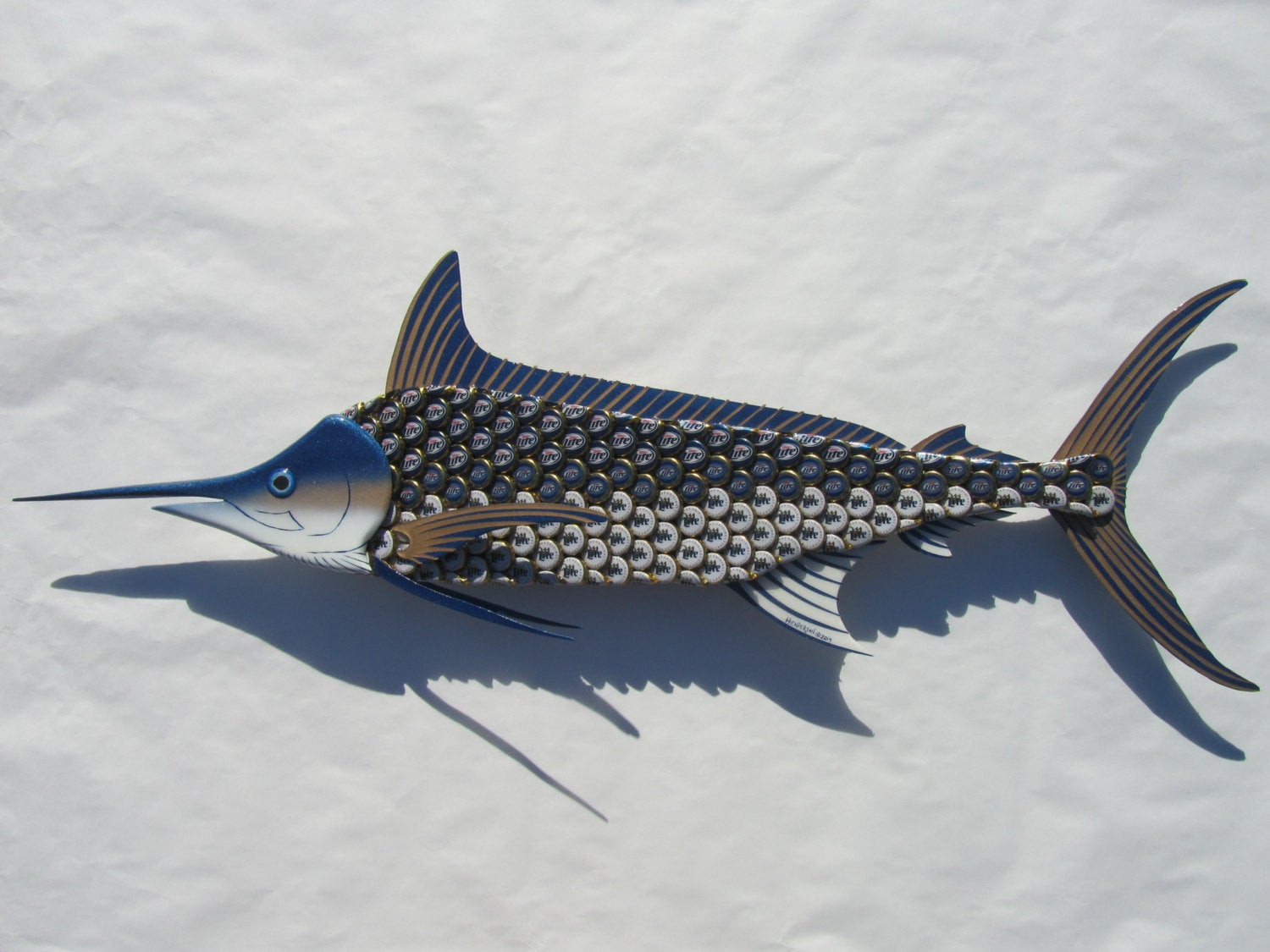 Best ideas about Metal Fish Wall Art . Save or Pin Metal Fish Wall Art Blue Marlin Fish Bottlecap Art Now.