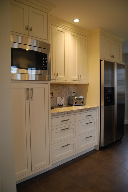 Best ideas about Microwave Pantry Cabinets . Save or Pin Kitchen pantry cabinet refridgerator coffee area and Now.