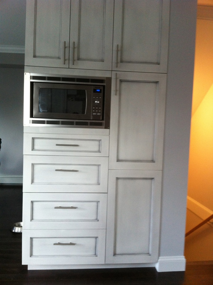 Best ideas about Microwave Pantry Cabinets . Save or Pin Custom pantry with built in microwave and antique brushed Now.