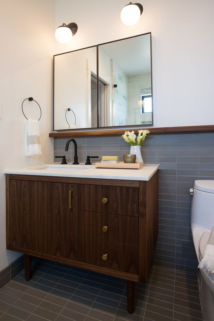 Best ideas about Mid Century Bathroom Vanity . Save or Pin midcentury style vanity matching tile floor & wainscot Now.