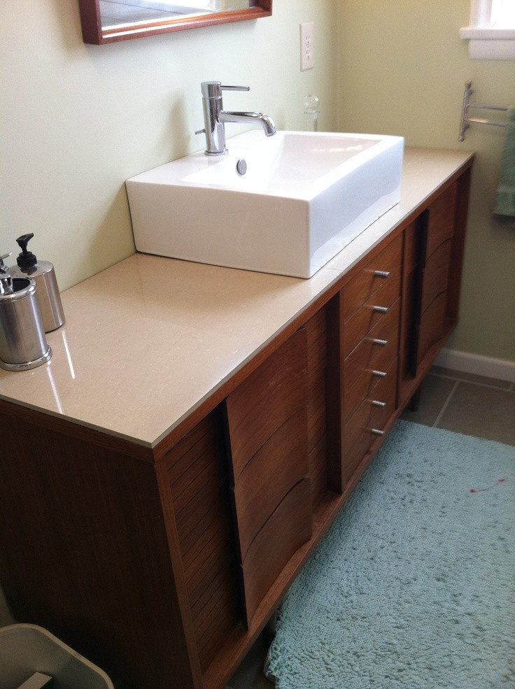 Best ideas about Mid Century Bathroom Vanity . Save or Pin Our master bath vanity Mid century dresser topped with 24 Now.