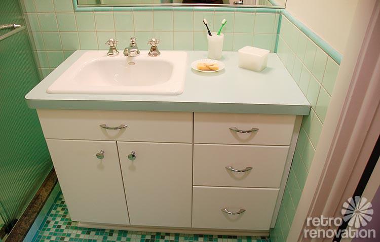 Best ideas about Mid Century Bathroom Vanity . Save or Pin Rebecca s mid century bathroom remodel using Nemo tiles Now.