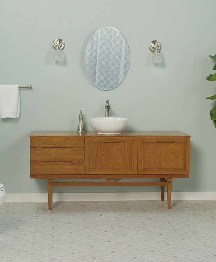 Best ideas about Mid Century Bathroom Vanity . Save or Pin Upcycle a Dresser Bathroom Vanity Now.