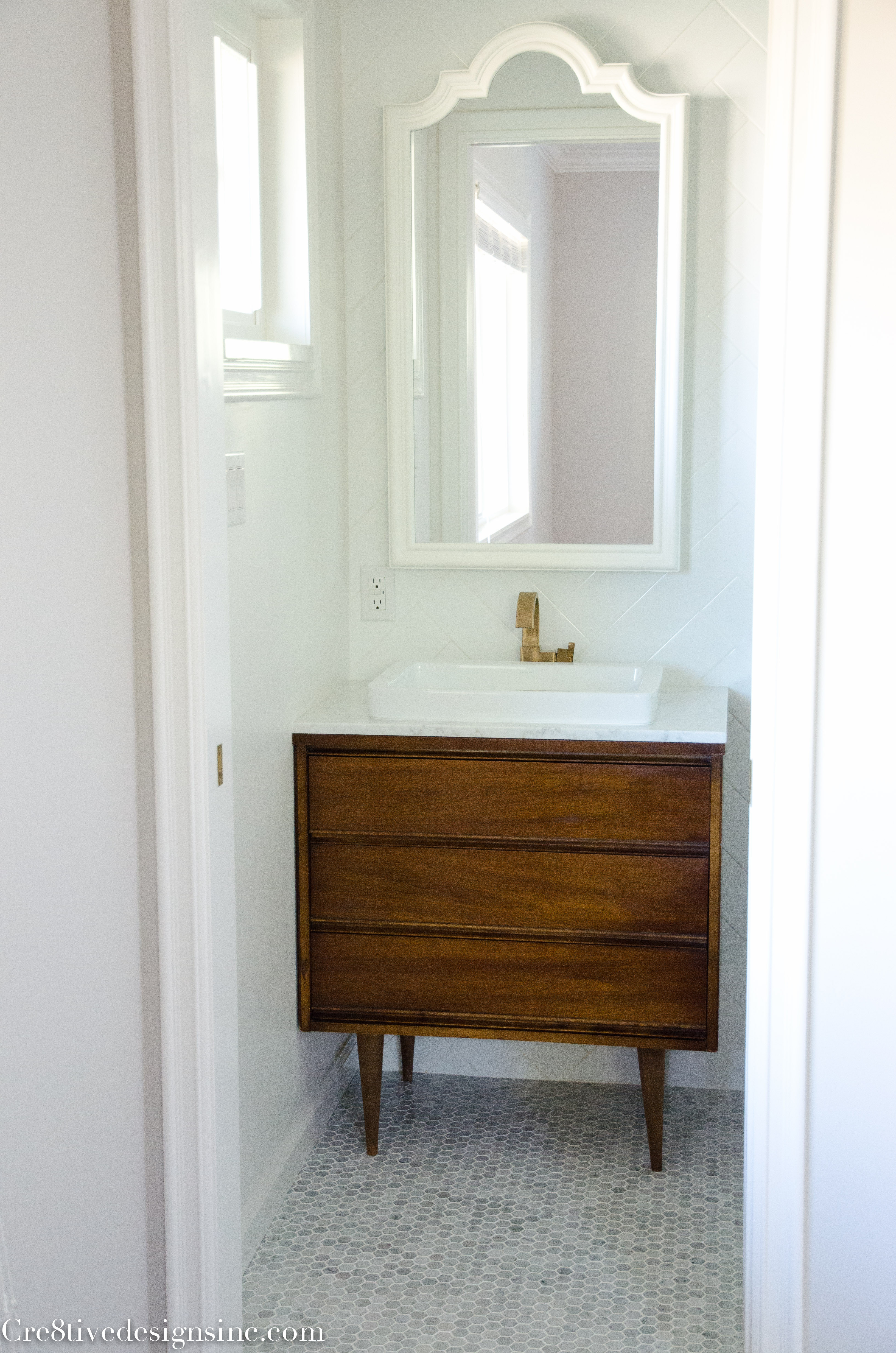 Best ideas about Mid Century Bathroom Vanity . Save or Pin Designing a tiny bathroom Cre8tive Designs Inc Now.