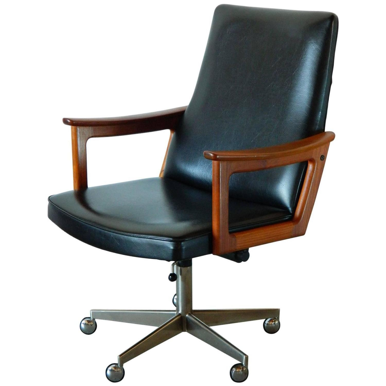 Best ideas about Mid Century Office Chair . Save or Pin Mid Century Modern Danish Teak Desk Chair in the style of Now.