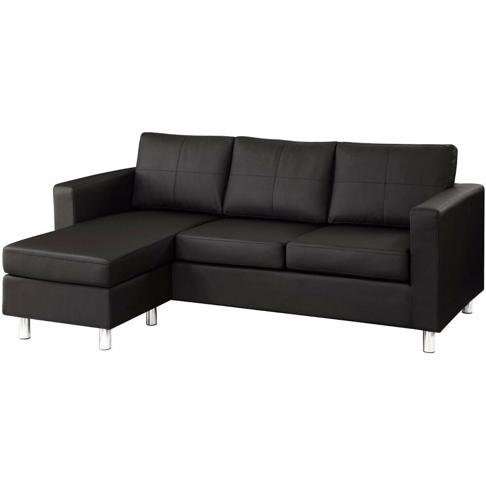 Best ideas about Mini Sectional Sofa . Save or Pin Modern Black Bonded Leather Small Sectional Sofa Small Now.