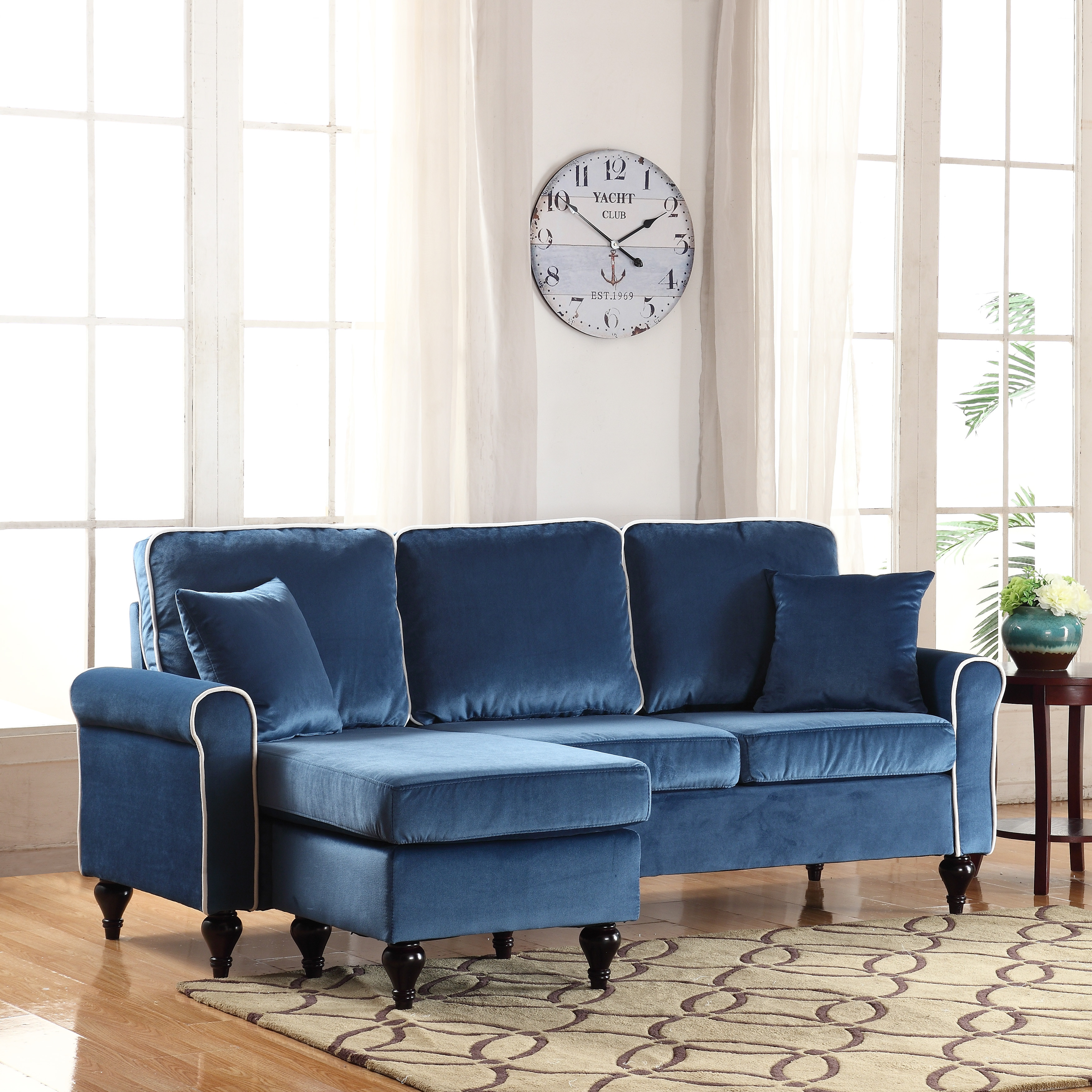 Best ideas about Mini Sectional Sofa . Save or Pin Traditional Small Space Blue Velvet Sectional Sofa with Now.