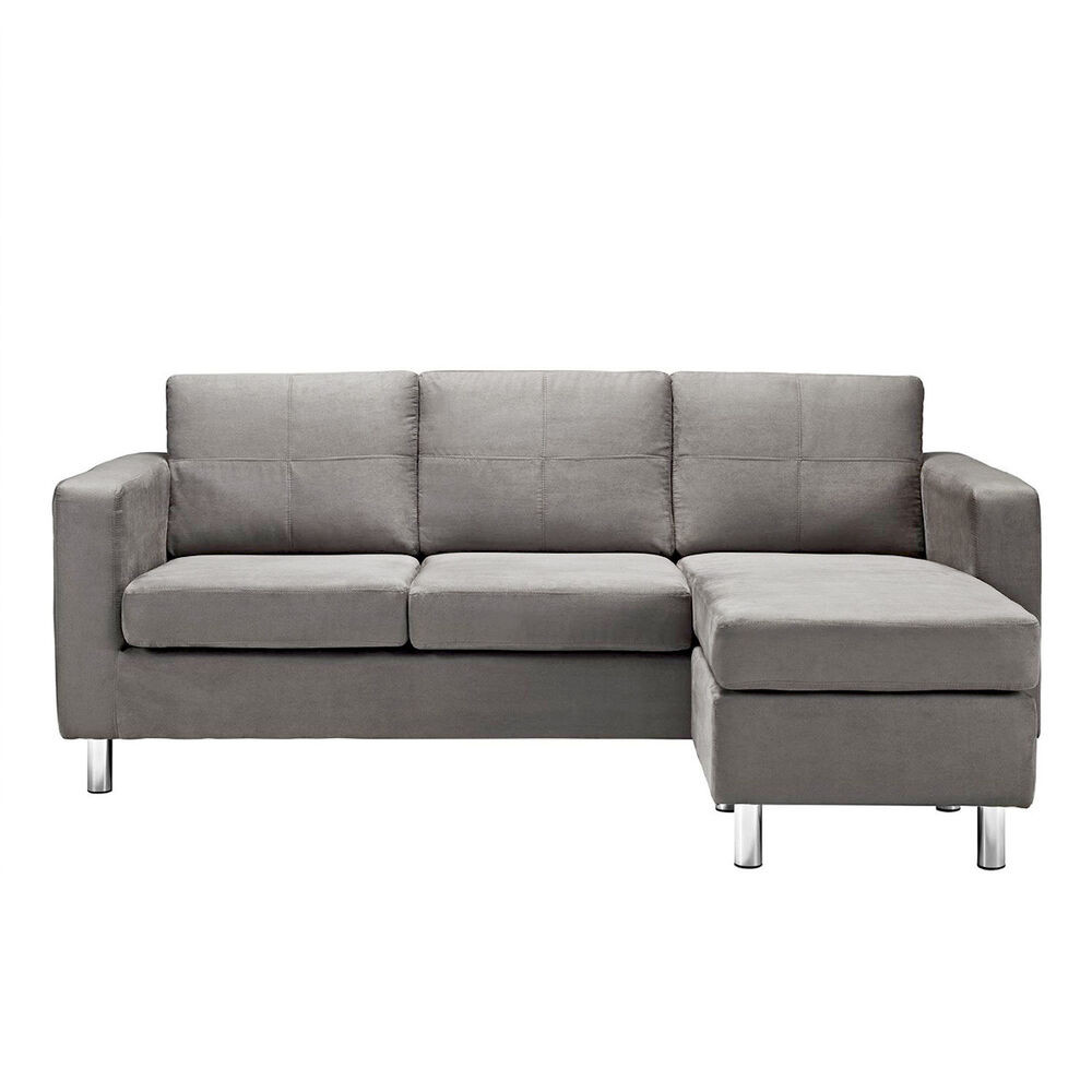 Best ideas about Mini Sectional Sofa . Save or Pin Modern Microfiber Small Sectional Sofa Light Grey Small Now.