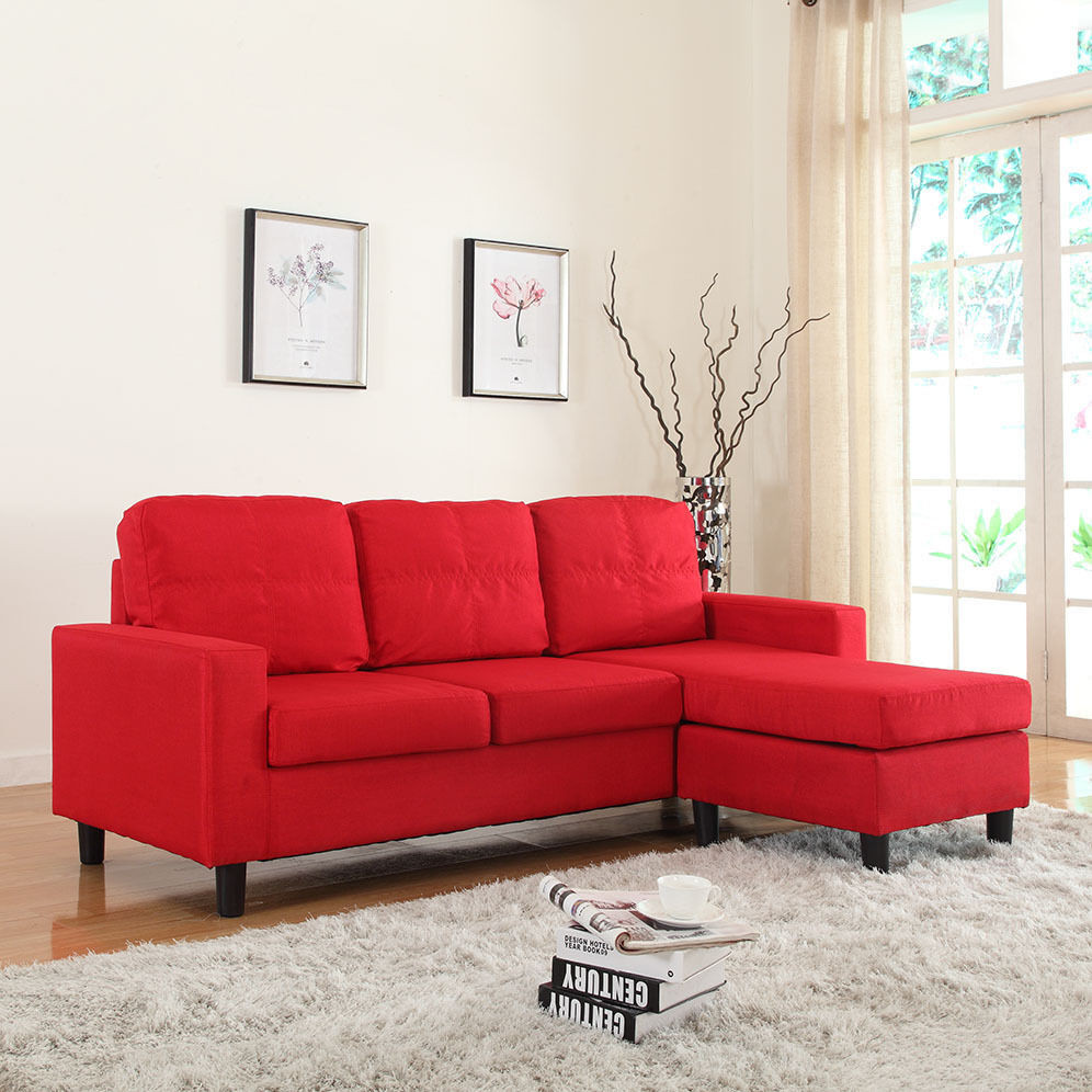 Best ideas about Mini Sectional Sofa . Save or Pin Modern Reversible Red Linen Fabric Small Sectional Sofa Now.