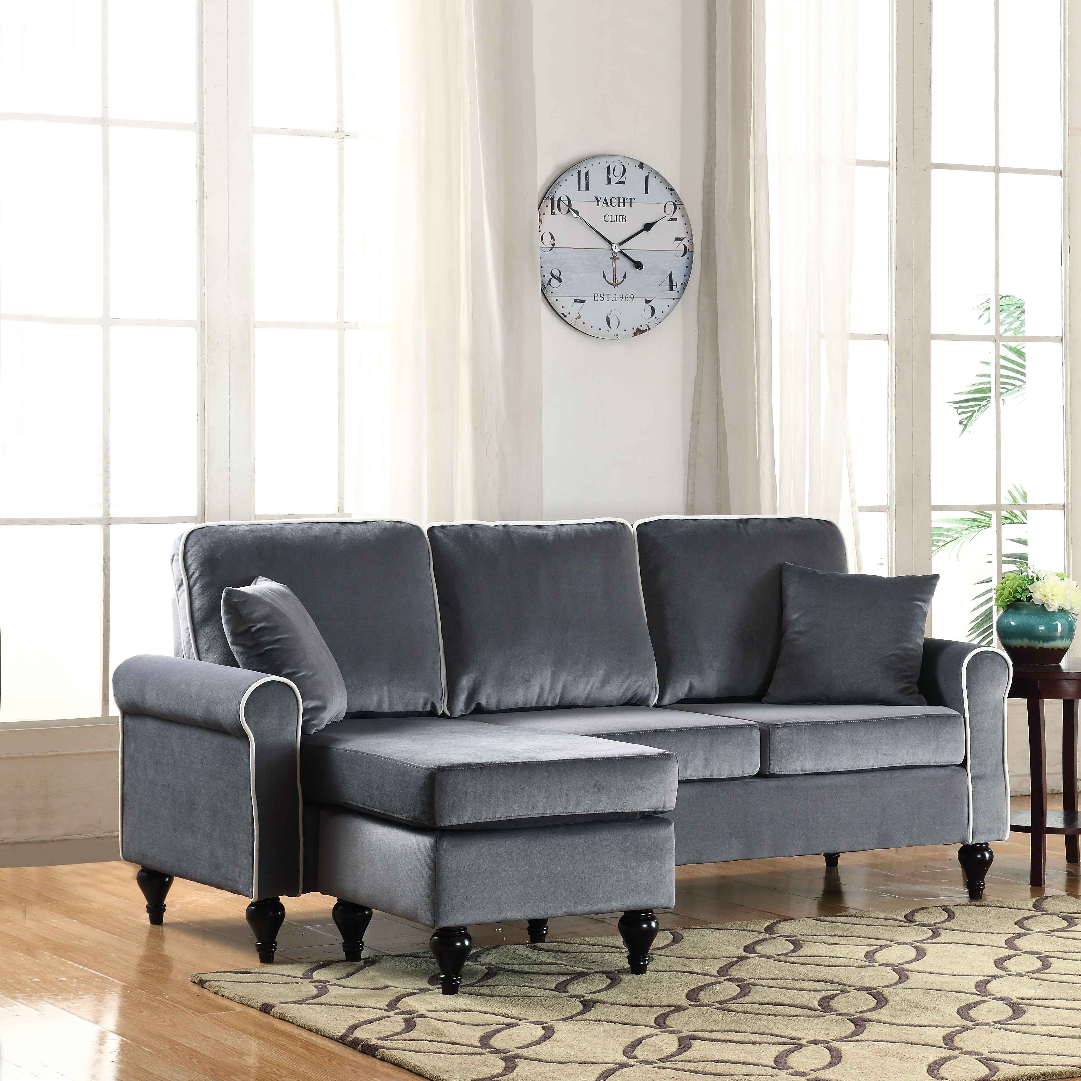 Best ideas about Mini Sectional Sofa . Save or Pin Traditional Small Space Grey Velvet Sectional Sofa with Now.