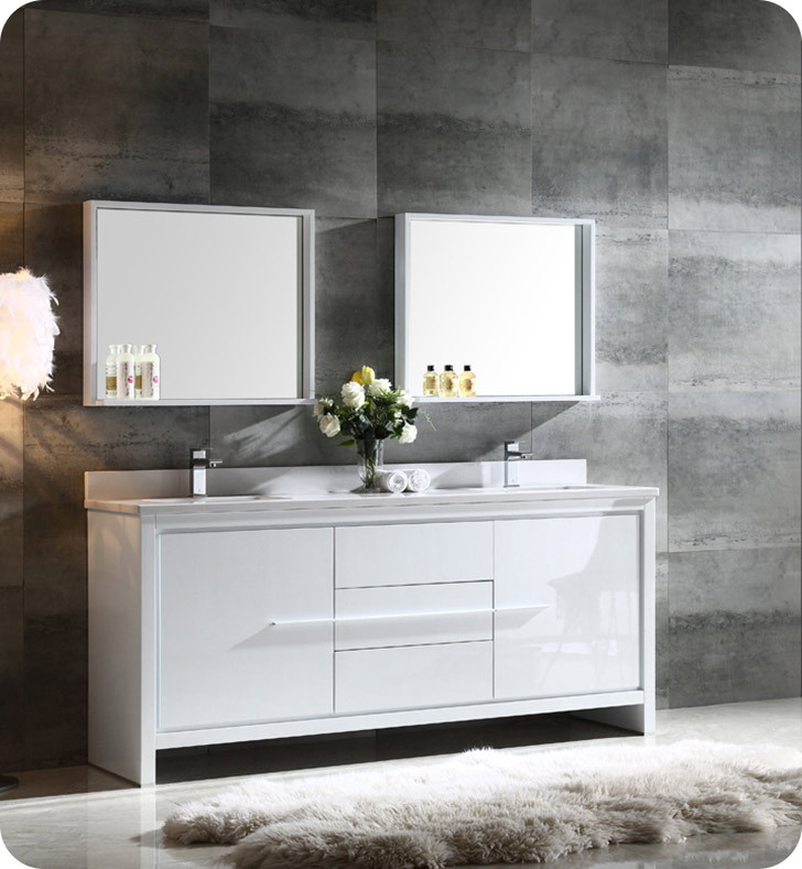 """Best ideas about Modern Bathroom Vanities . Save or Pin Fresca FVN8172WH Allier 72"""" Double Sink Modern Bathroom Now."""