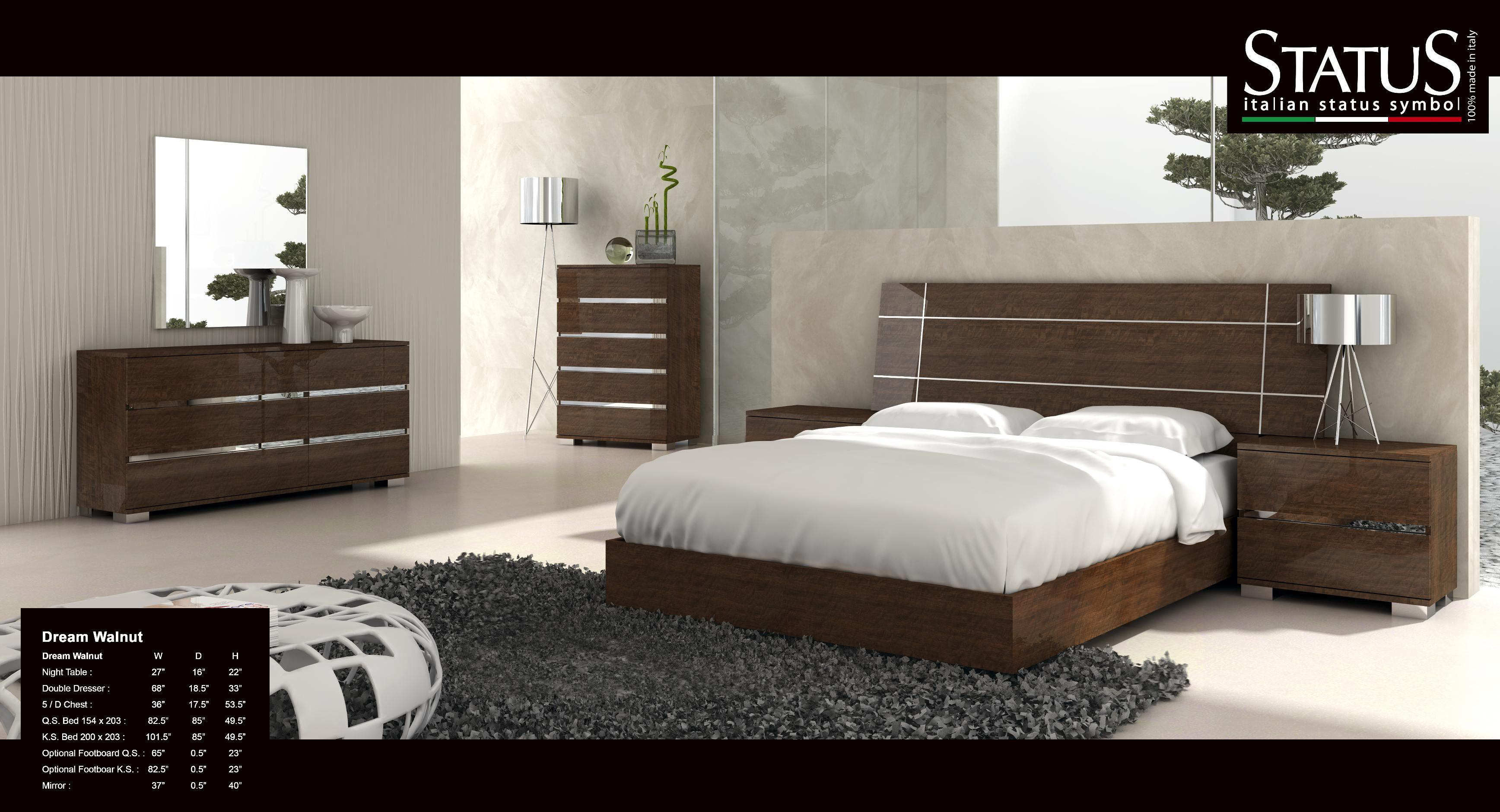 Best ideas about Modern Bedroom Furniture . Save or Pin Dream King Size Modern Design Bedroom Set Walnut 5 PC Bed Now.