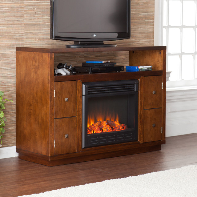 Best ideas about Modern Electric Fireplace Tv Stand . Save or Pin Upton Home Hepburn Brown Media Console Stand Electric Now.
