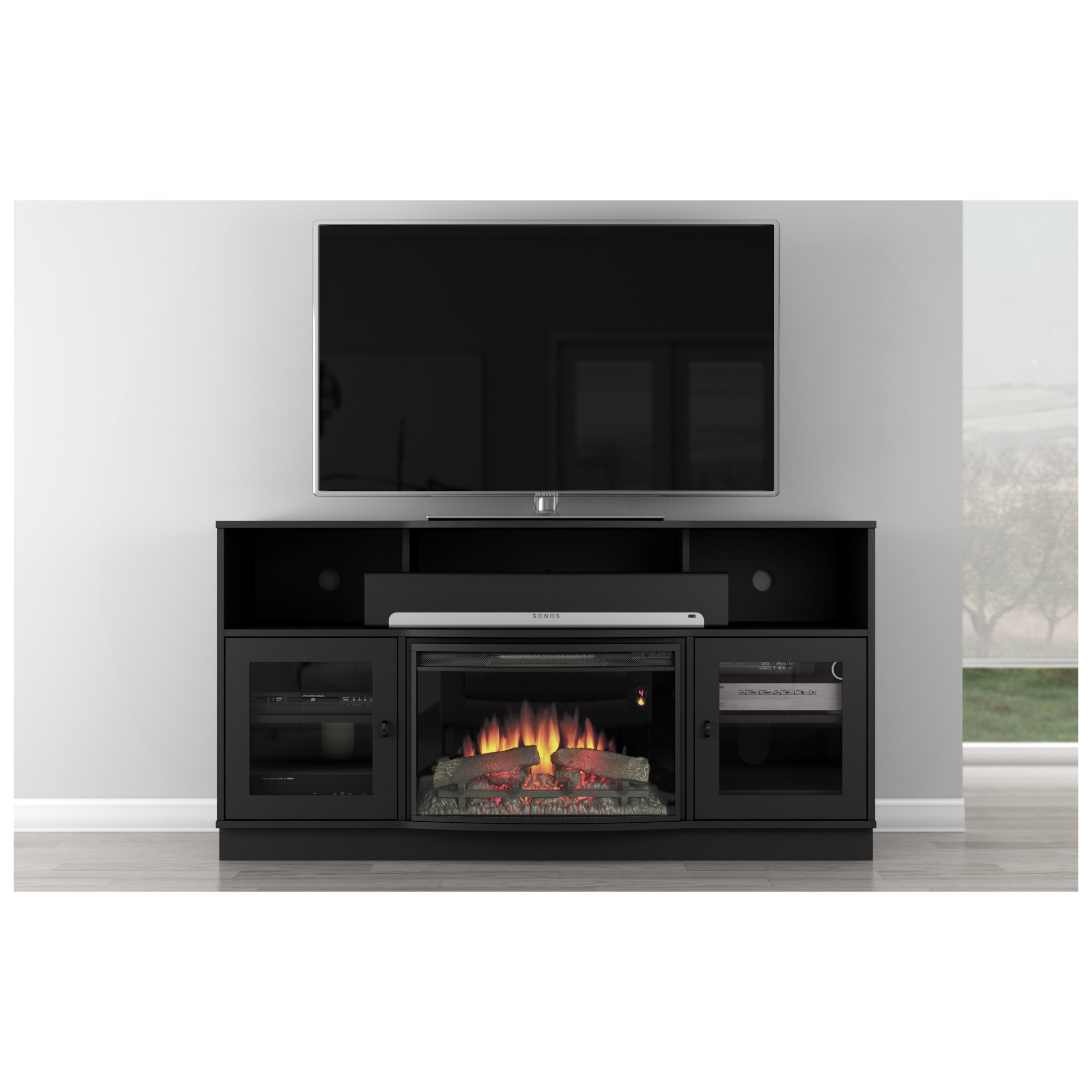 """Best ideas about Modern Electric Fireplace Tv Stand . Save or Pin Furnitech FT64CF B 66"""" TV Stand Contemporary w Curved Now."""