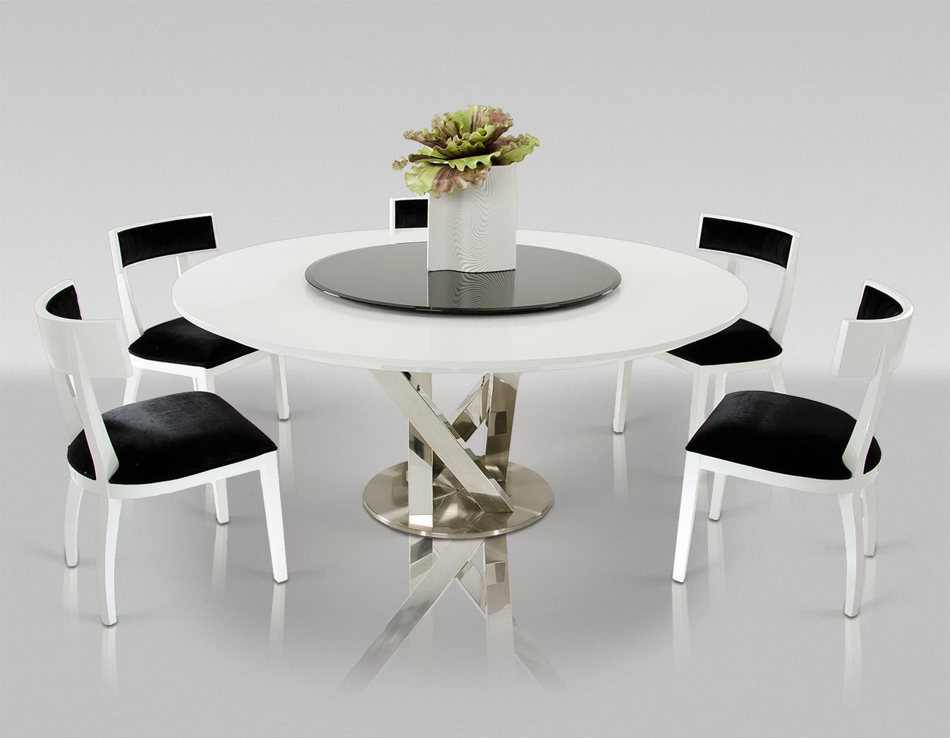 Best ideas about Modern Round Dining Table . Save or Pin A&X Spiral Modern Round White Dining Table with Lazy Susan Now.