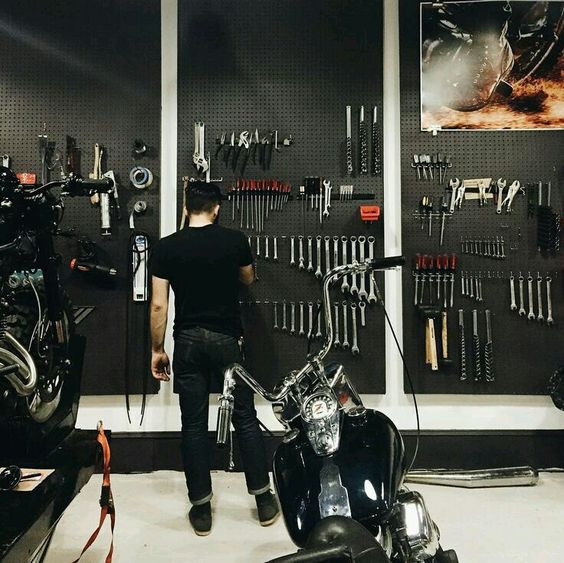Best ideas about Motorcycle Garage Ideas . Save or Pin 1000 ideas about Motorcycle Shop on Pinterest Now.
