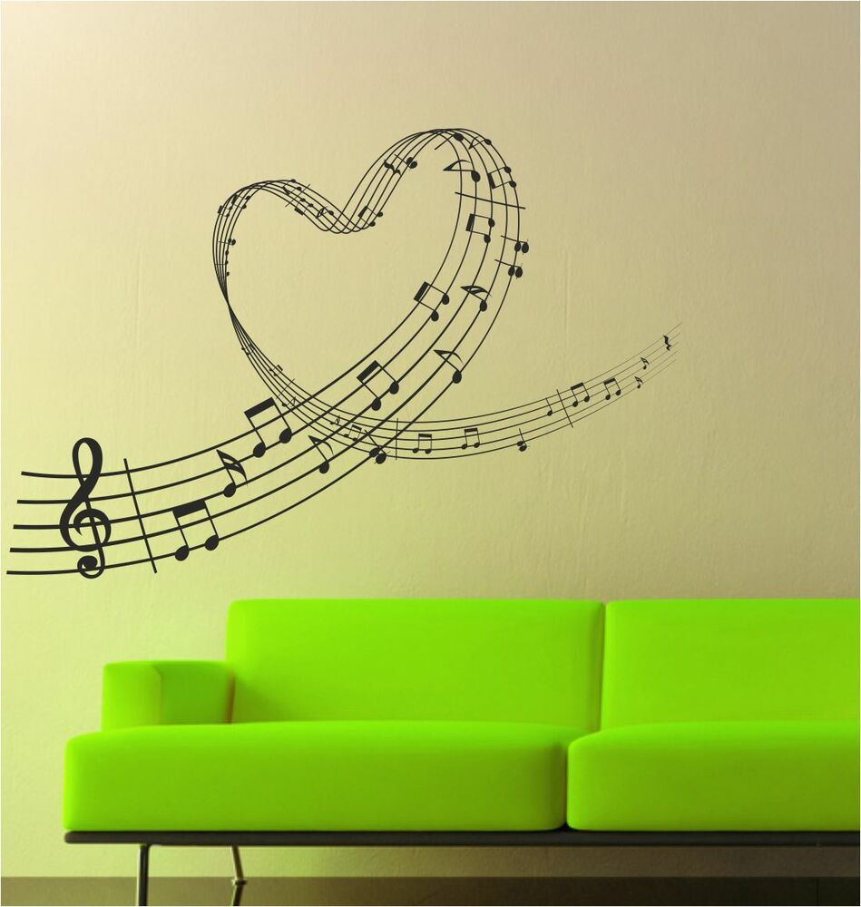 Best ideas about Music Wall Art . Save or Pin Music Love Heart Notes Wall Art Sticker Decal Graphic Now.