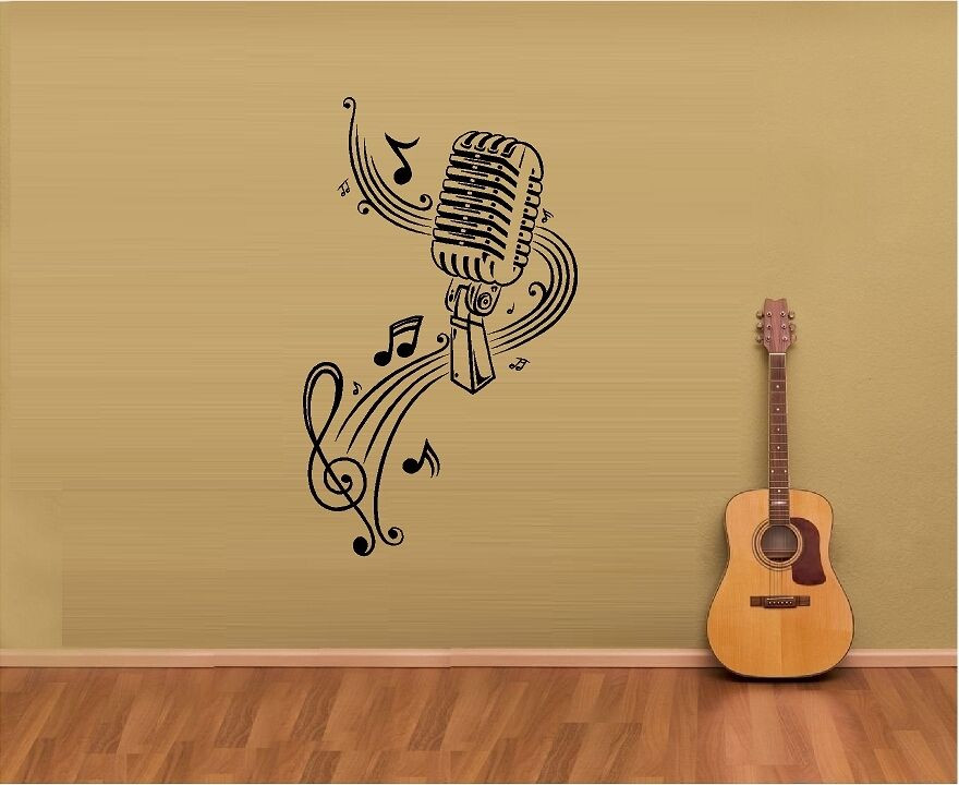 Best ideas about Music Wall Art . Save or Pin MUSIC NOTES SHEET MUSIC MICROPHONE VINYL WALL DECAL Now.
