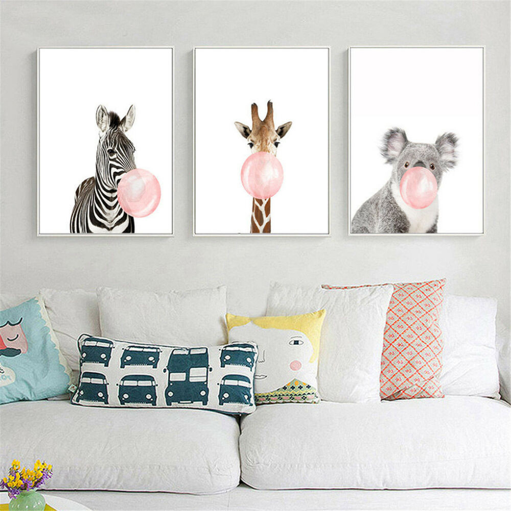 Best ideas about Nursery Wall Art . Save or Pin Animal Koala Giraffe Zebra Canvas Poster Nursery Wall Art Now.