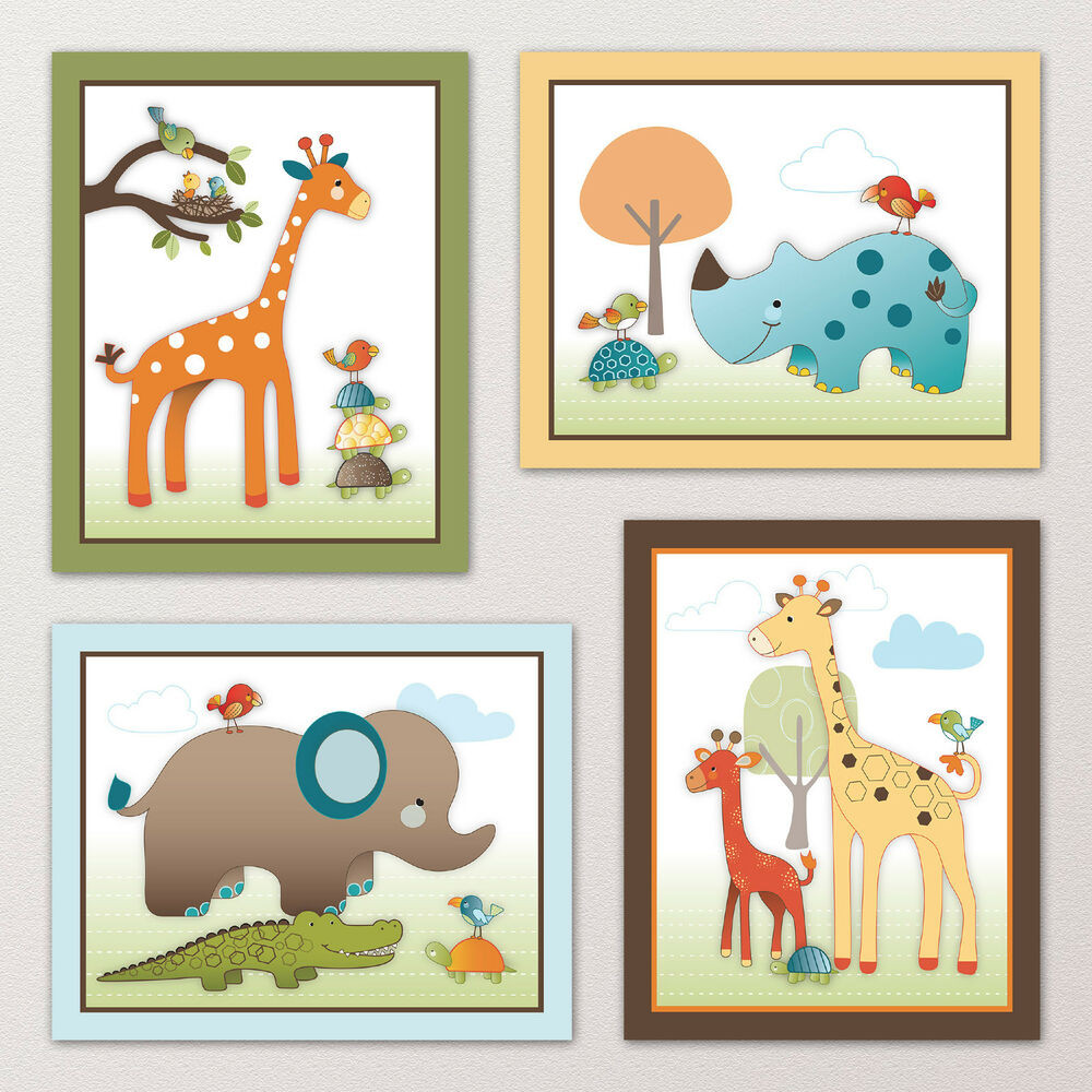 Best ideas about Nursery Wall Art . Save or Pin Giraffe Safari Jungle Animals Elephant Nursery Kids Baby Now.