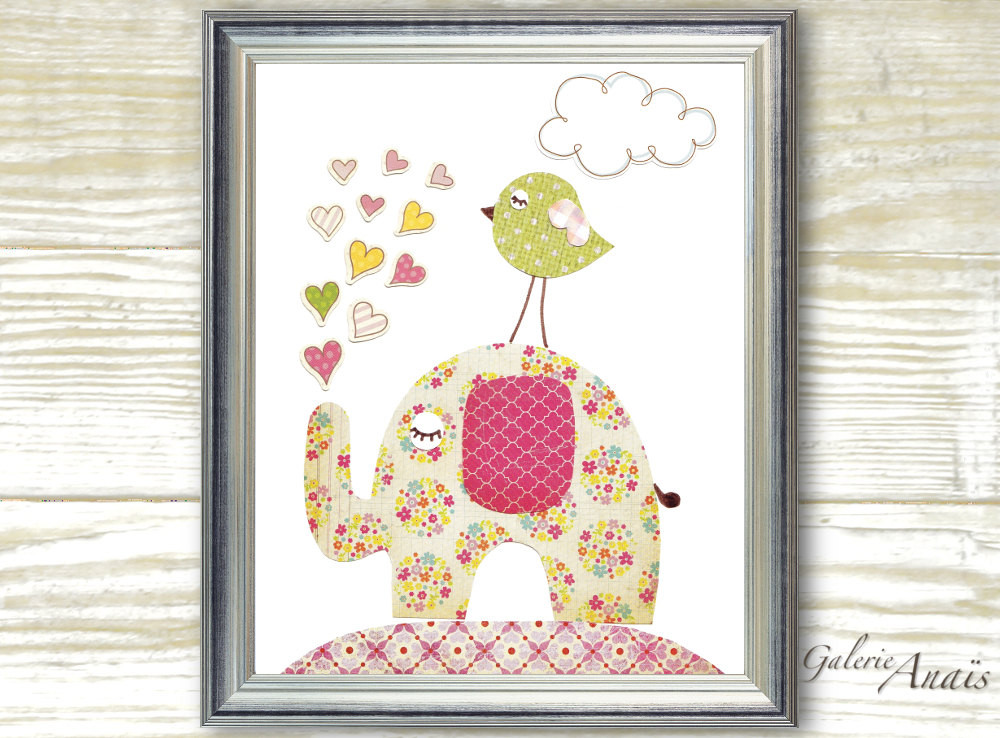Best ideas about Nursery Wall Art . Save or Pin Kids wall art baby girl nursery decor nursery arr Elephant Now.