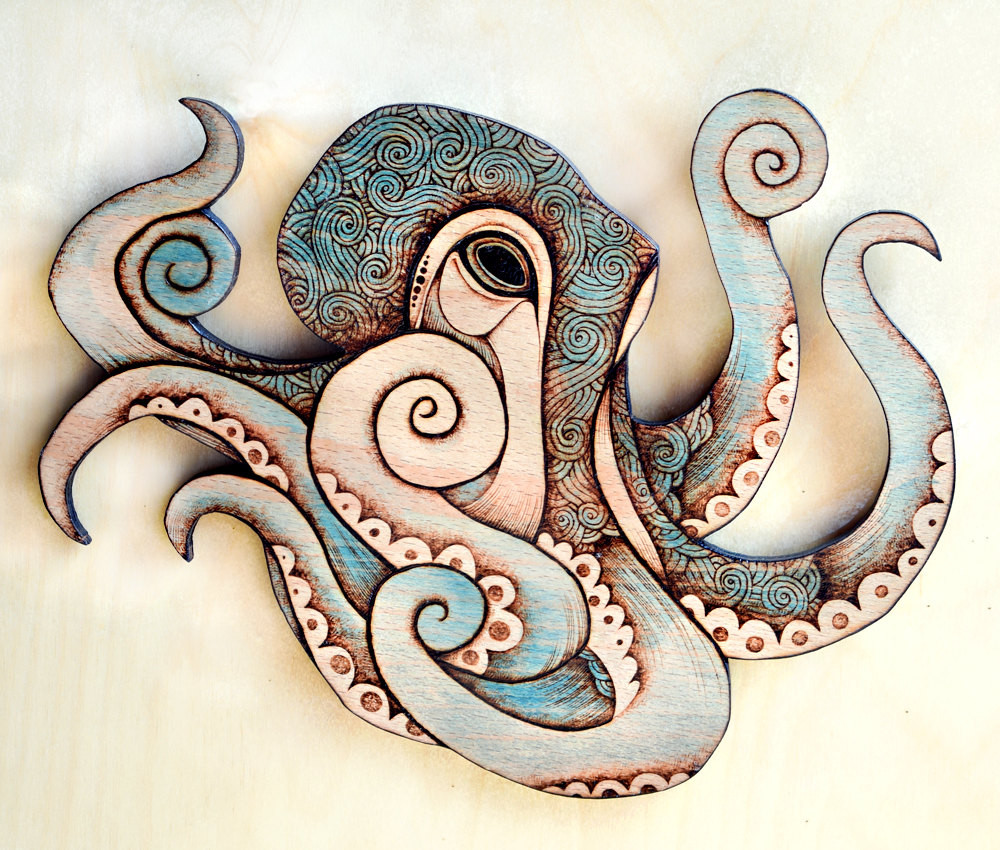 Best ideas about Octopus Wall Art . Save or Pin Octopus Wall Hanging Pyrography wall hanging octopus decor Now.