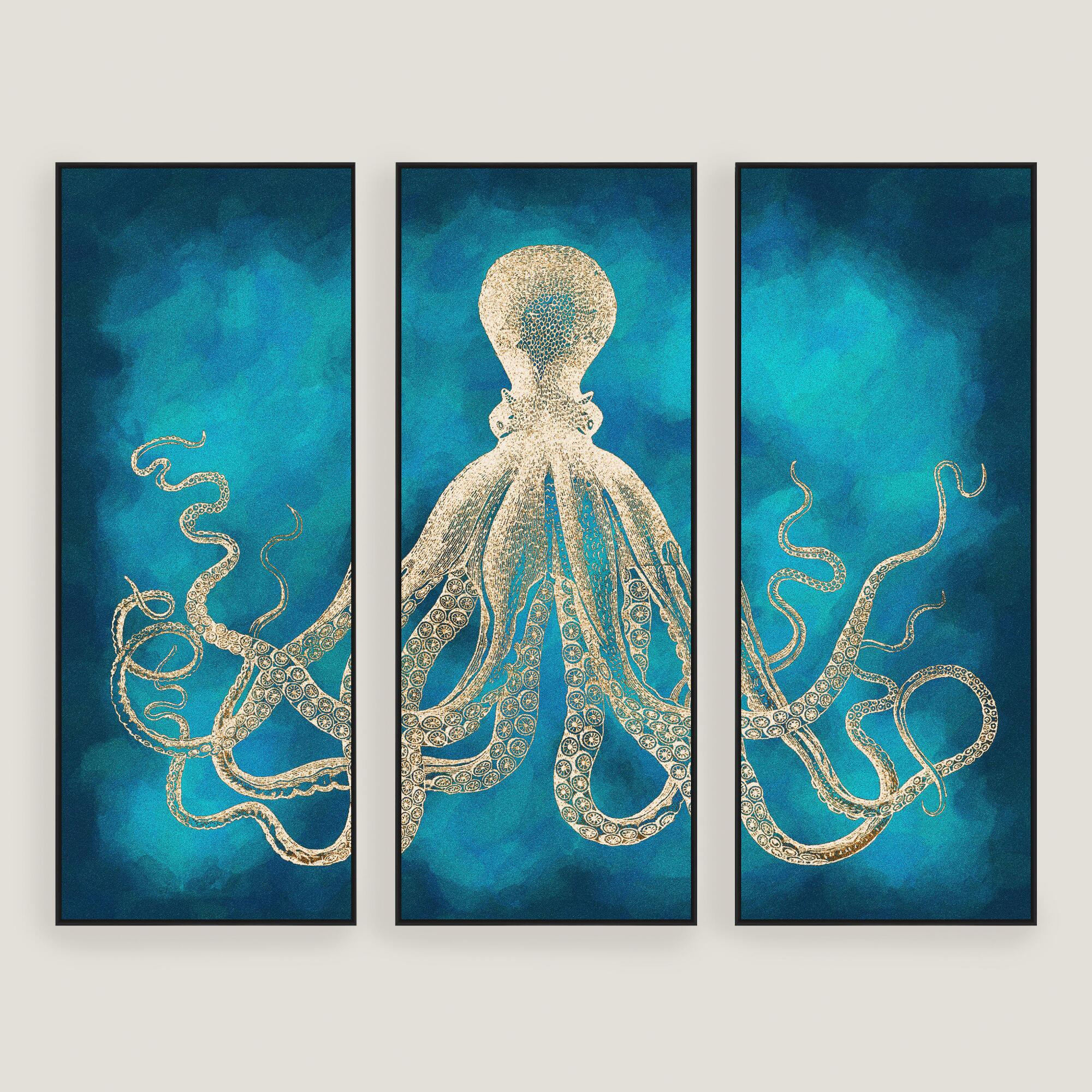 Best ideas about Octopus Wall Art . Save or Pin Octopus Sea Life Wall Art 3 Piece Now.
