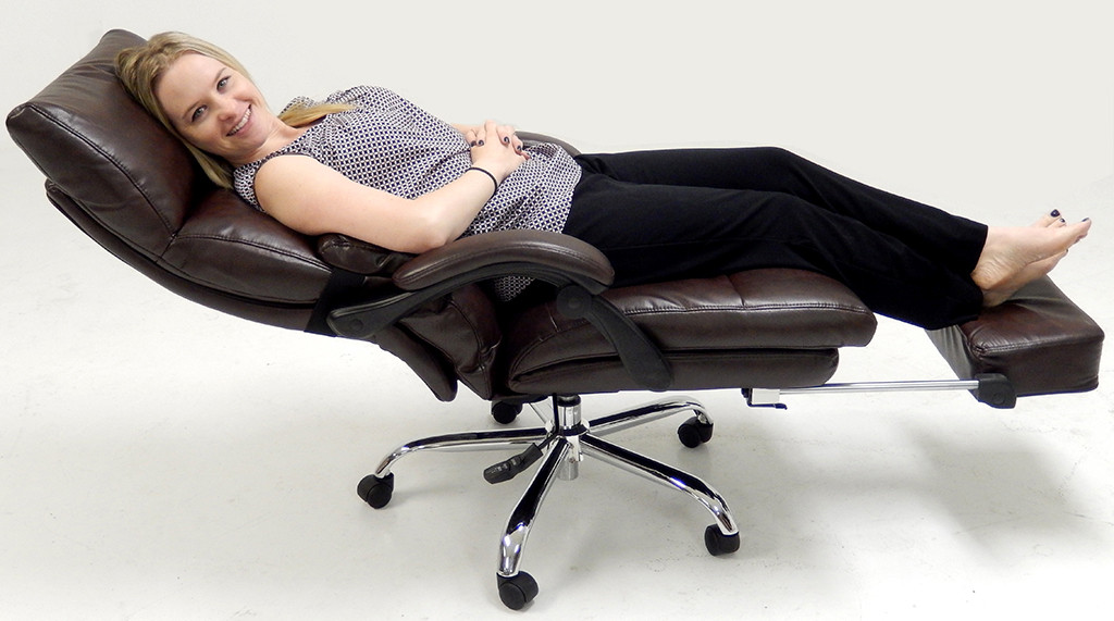 Best ideas about Office Chair Recliner . Save or Pin Pillow Top Leather fice Recliner w Footrest Now.