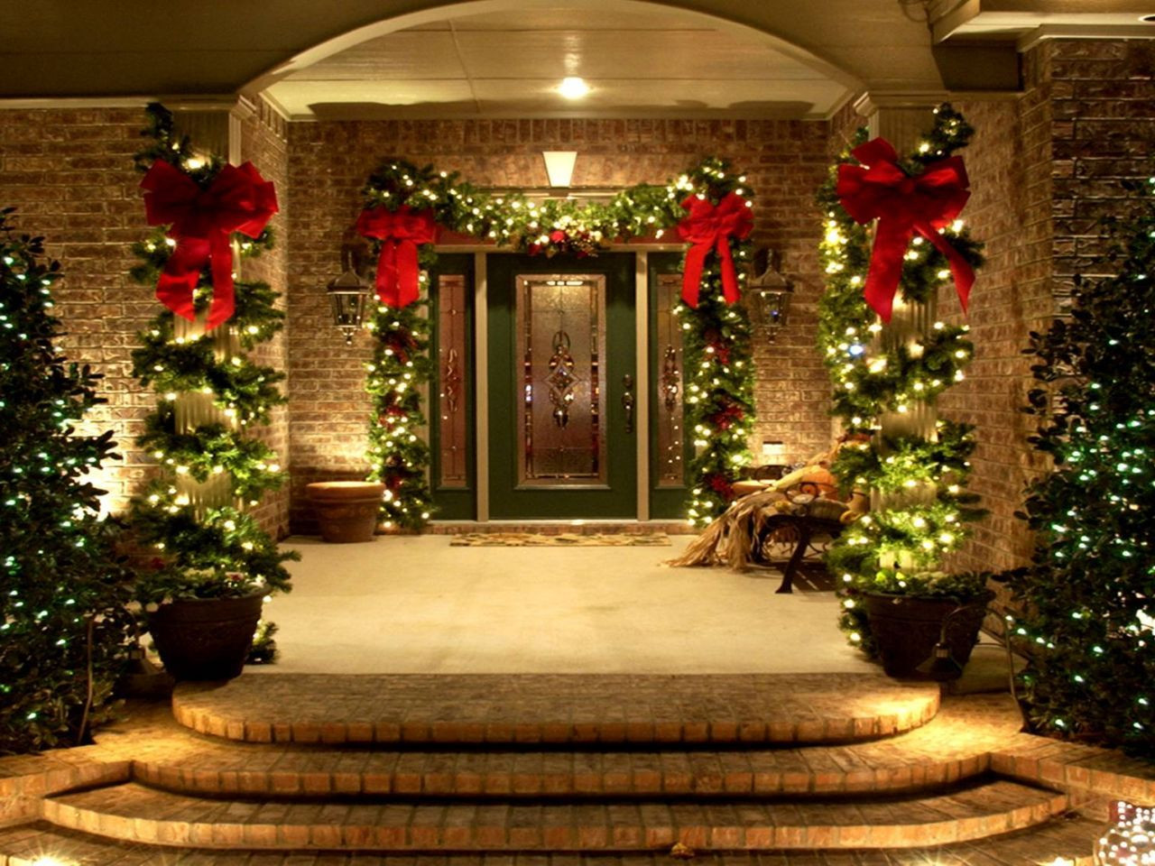 Best ideas about Outdoor Christmas Decor . Save or Pin Use of lighting and decorative plants to the outdoor for Now.