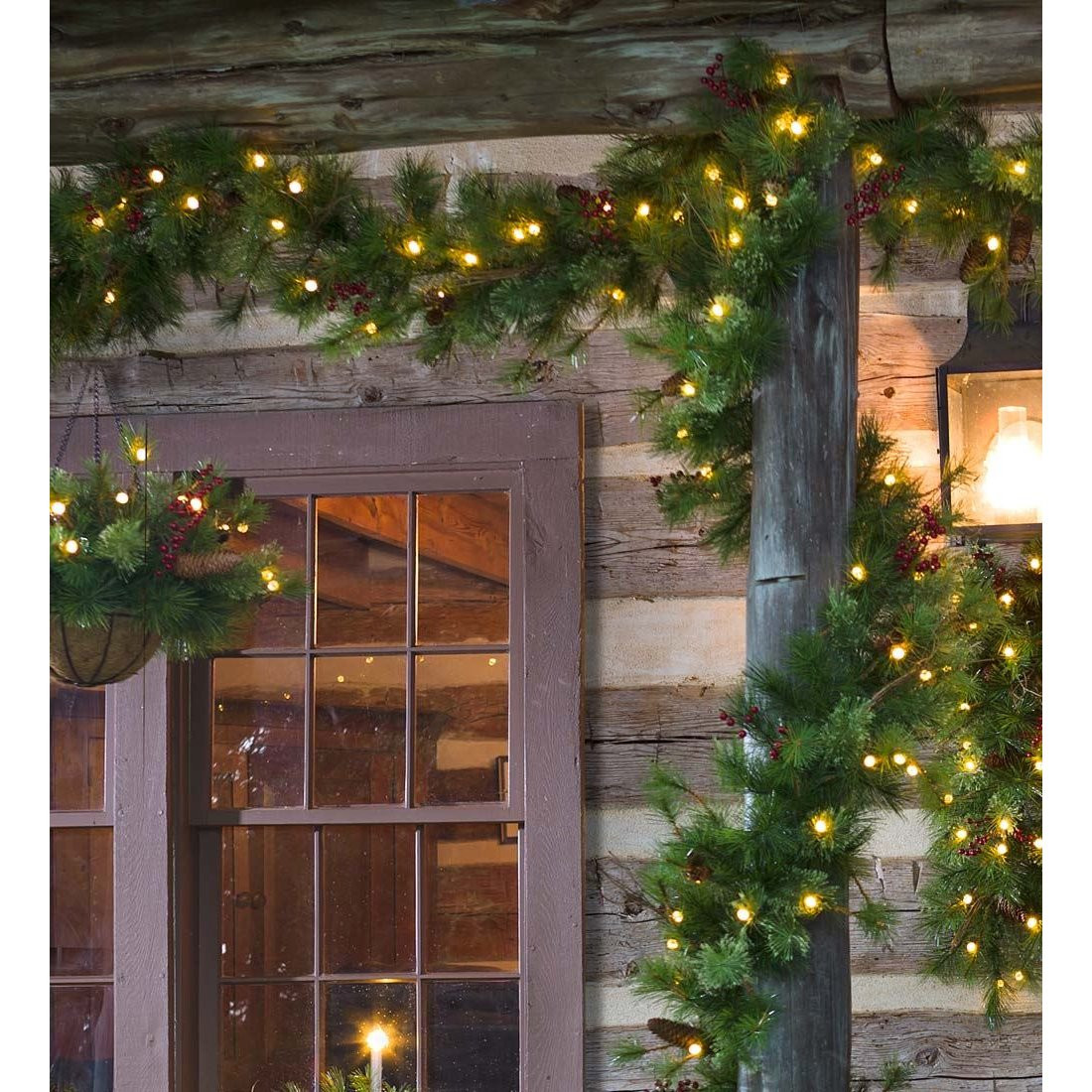 Best ideas about Outdoor Christmas Garland . Save or Pin Plow & Hearth Lighted Outdoor Battery Operated Holiday Now.