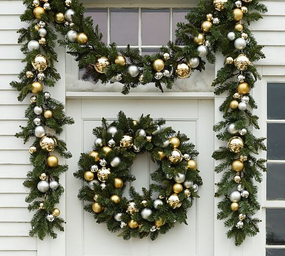 Best ideas about Outdoor Christmas Garland . Save or Pin Outdoor Ornament Pine Garland Gold Silver Now.