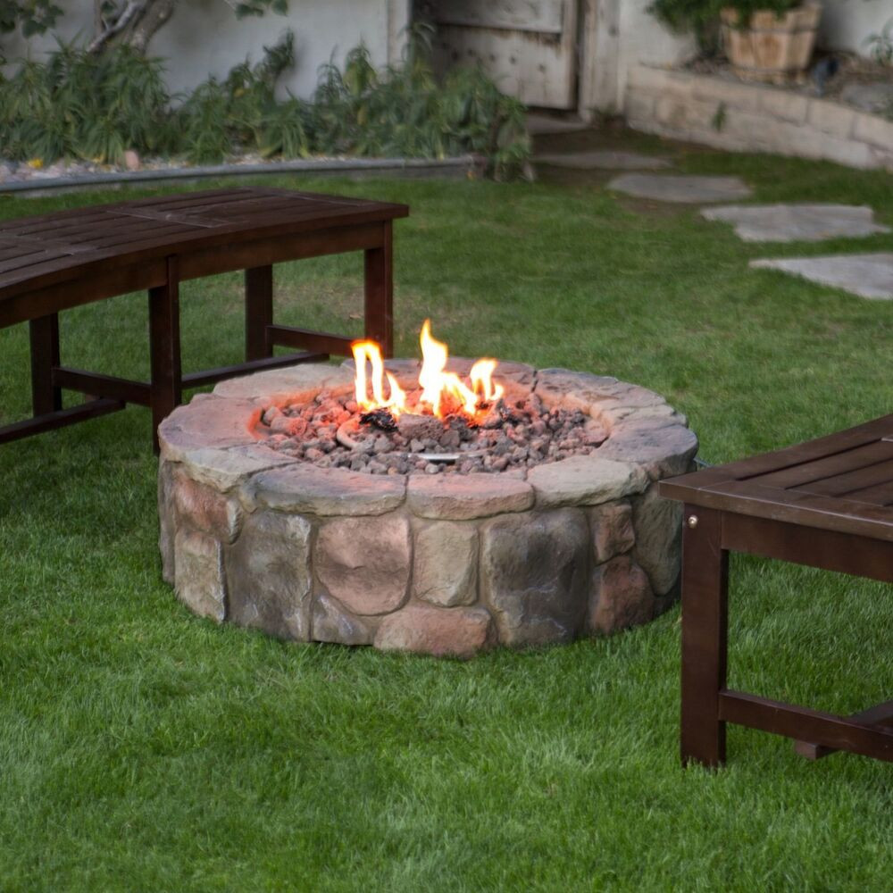 Best ideas about Outdoor Gas Fire Pits . Save or Pin Outdoor Propane Fire Pit Backyard Patio Deck Stone Now.