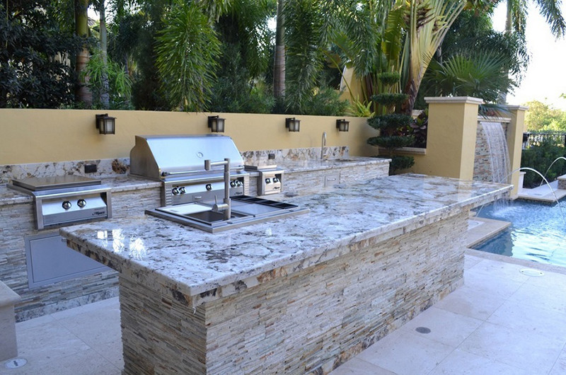 Best ideas about Outdoor Kitchen Countertops . Save or Pin Outdoor Kitchen Countertops Stone and Tile Options Now.