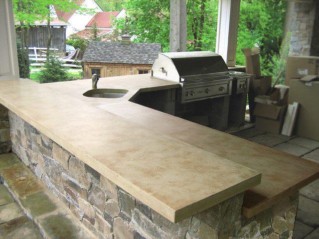 Best ideas about Outdoor Kitchen Countertops . Save or Pin Outdoor Ligth Brown Concrete Kitchen Countertops Now.